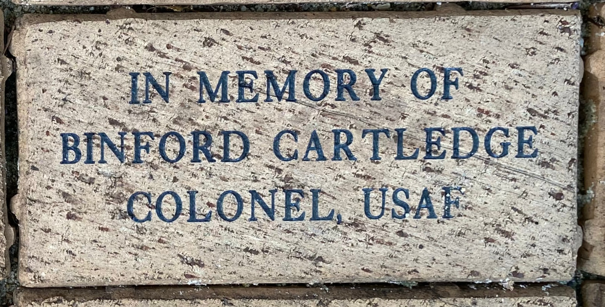 IN MEMORY OF  BINFORD CARTLEDGE COLONEL, USAF