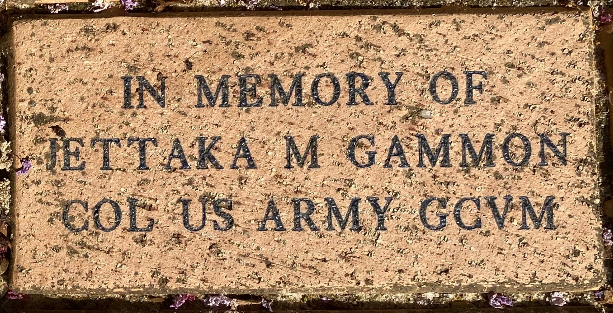 IN MEMORY OF JETTAKA M GAMMON COL US ARMY GCVM