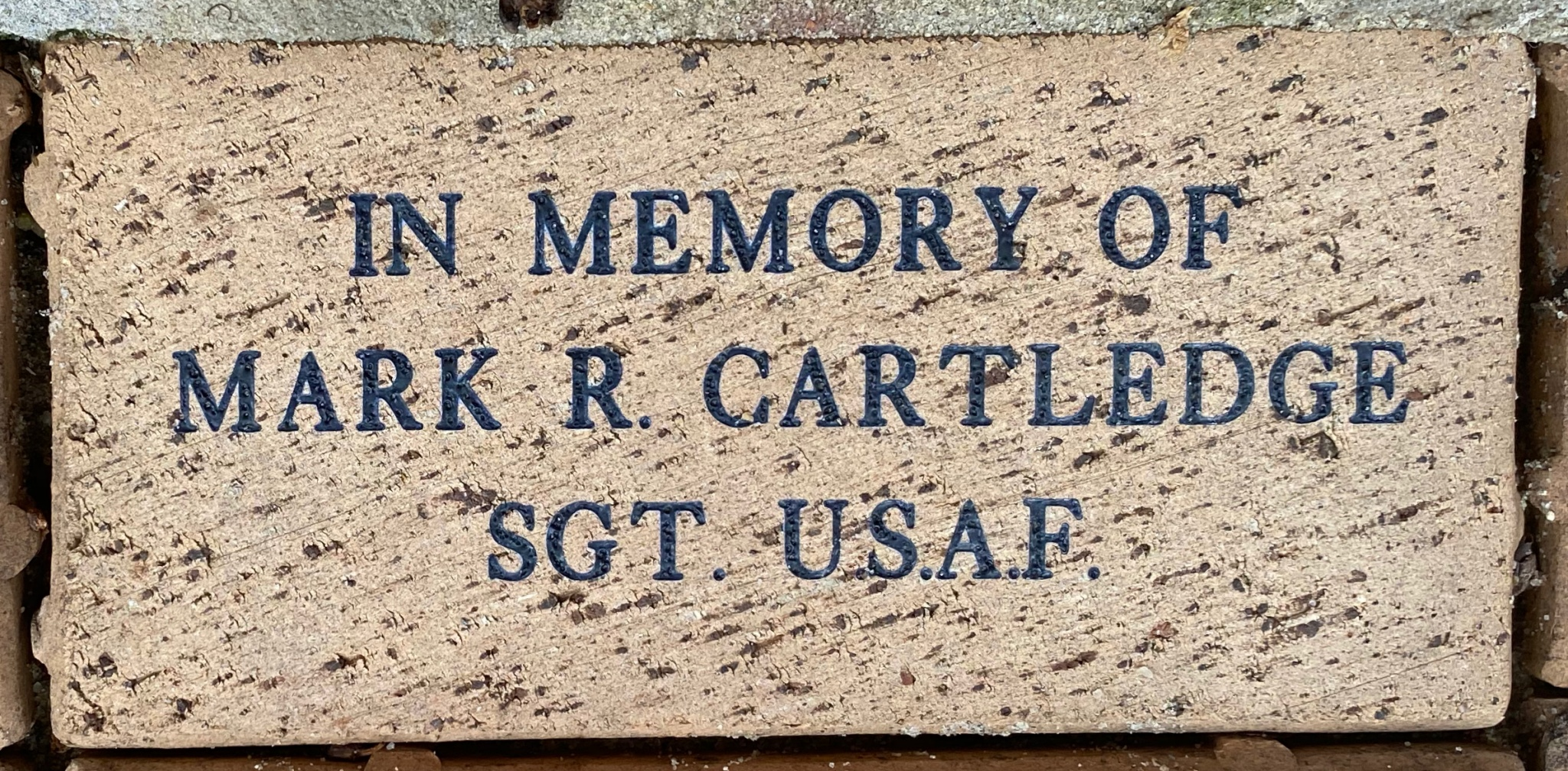 IN MEMORY OF  MARK R. CARTLEDGE SGT. U.S.A.F.