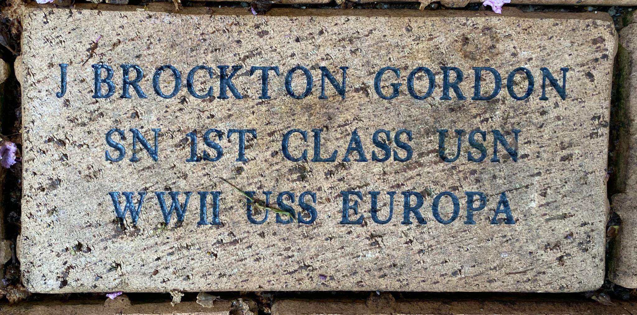 J BROCKTON GORDON SN 1ST CLASS USN WWII USS EUROPA