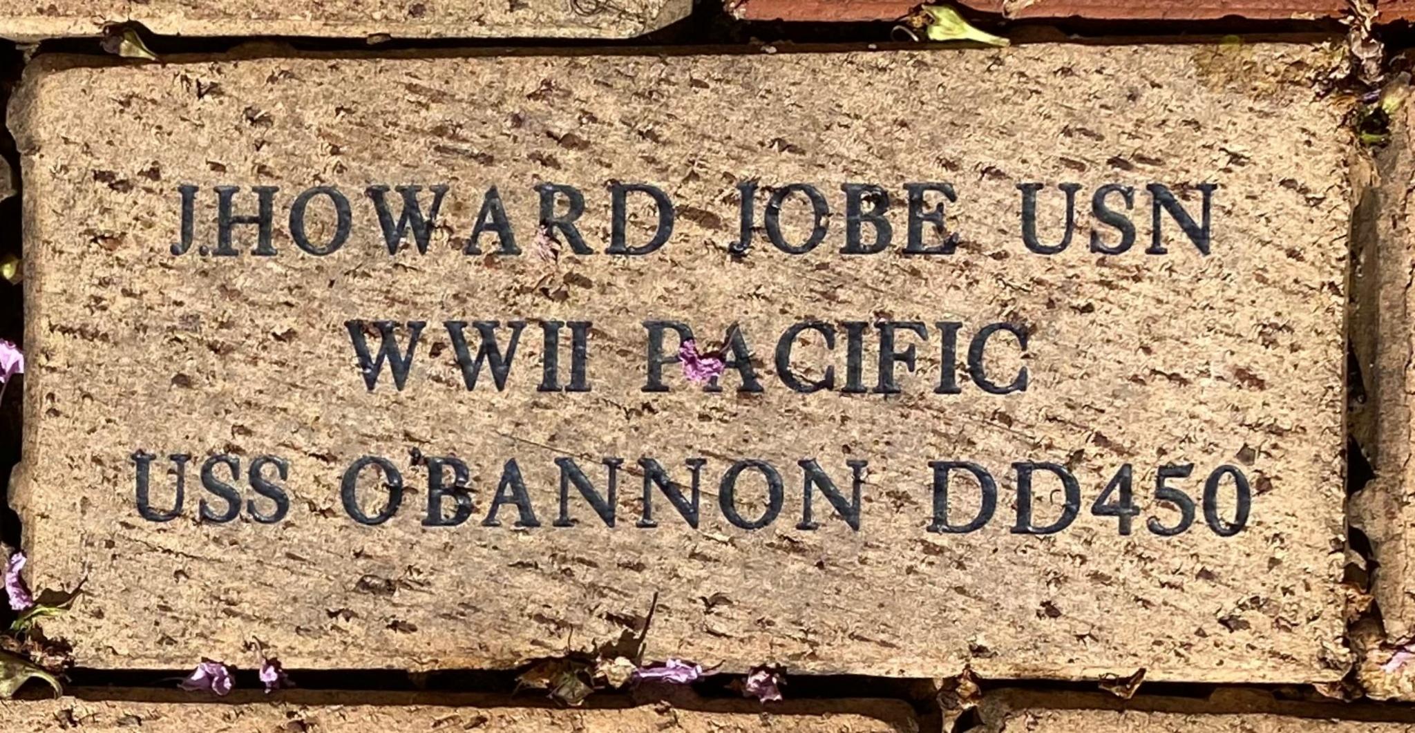 J.HOWARD JOBE USN WWII PACIFIC USS O'BANNON DD450