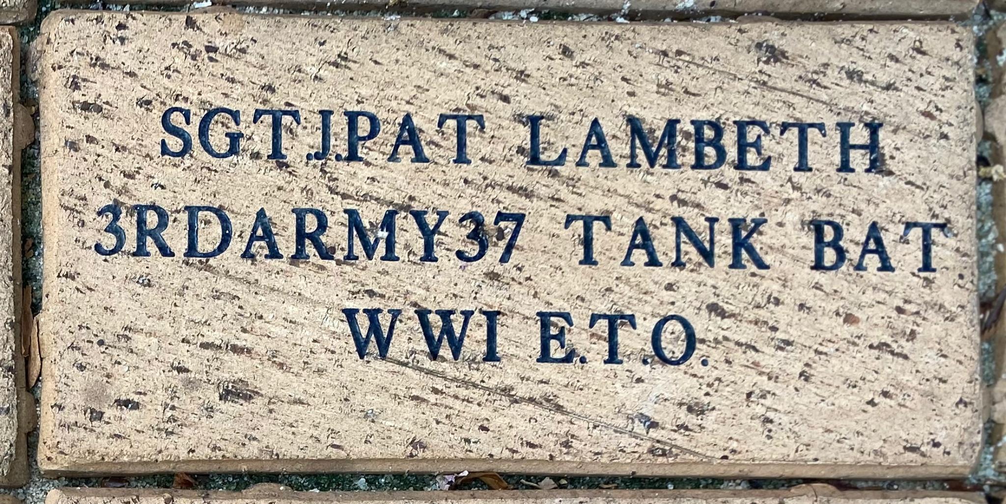 SGT J.PAT LAMBETH 3RDARMY37 TANK BAT WWI E.T.O.