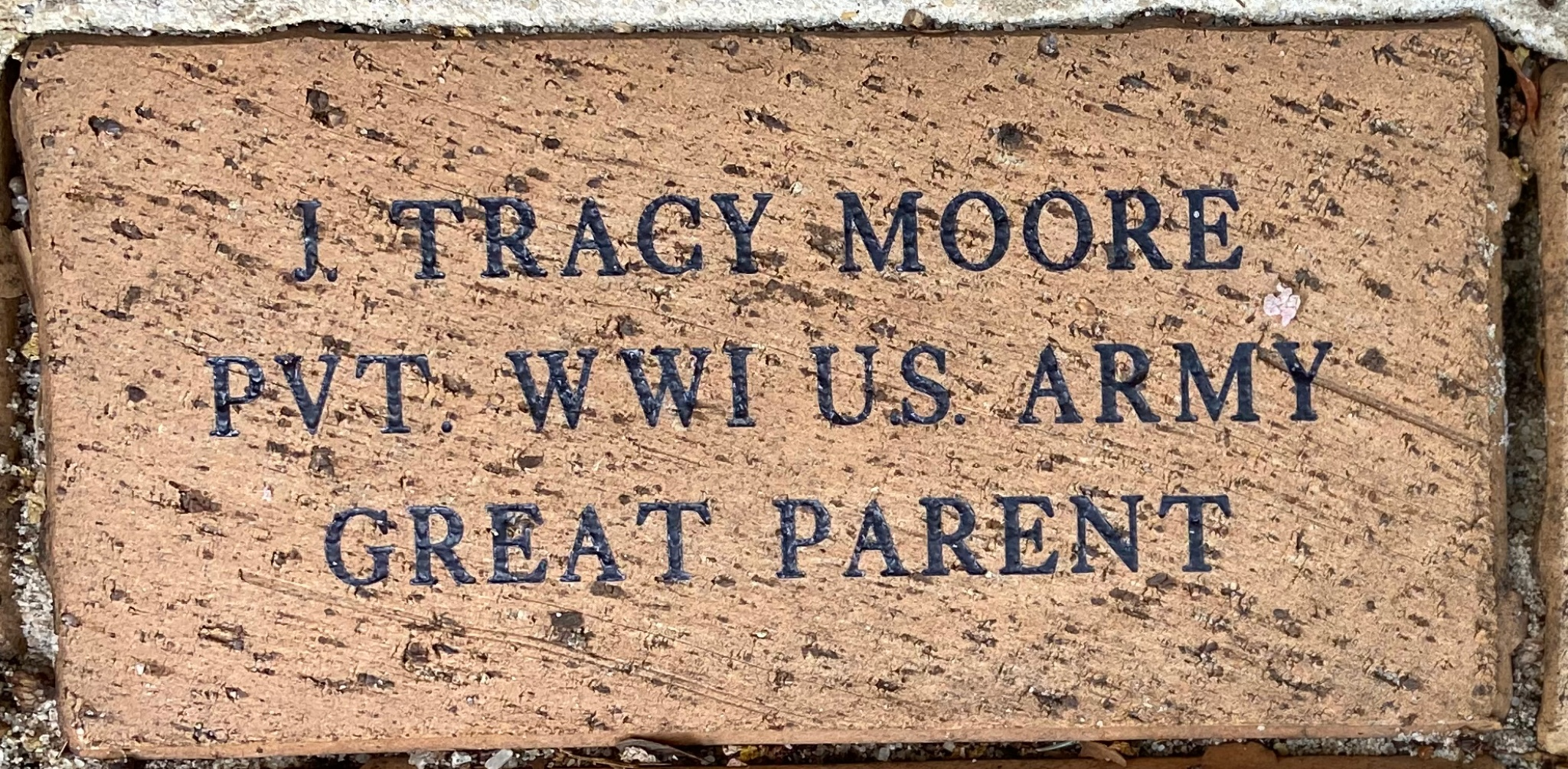 J. TRACY MOORE PVT WWI U.S. ARMY GREAT PARENT
