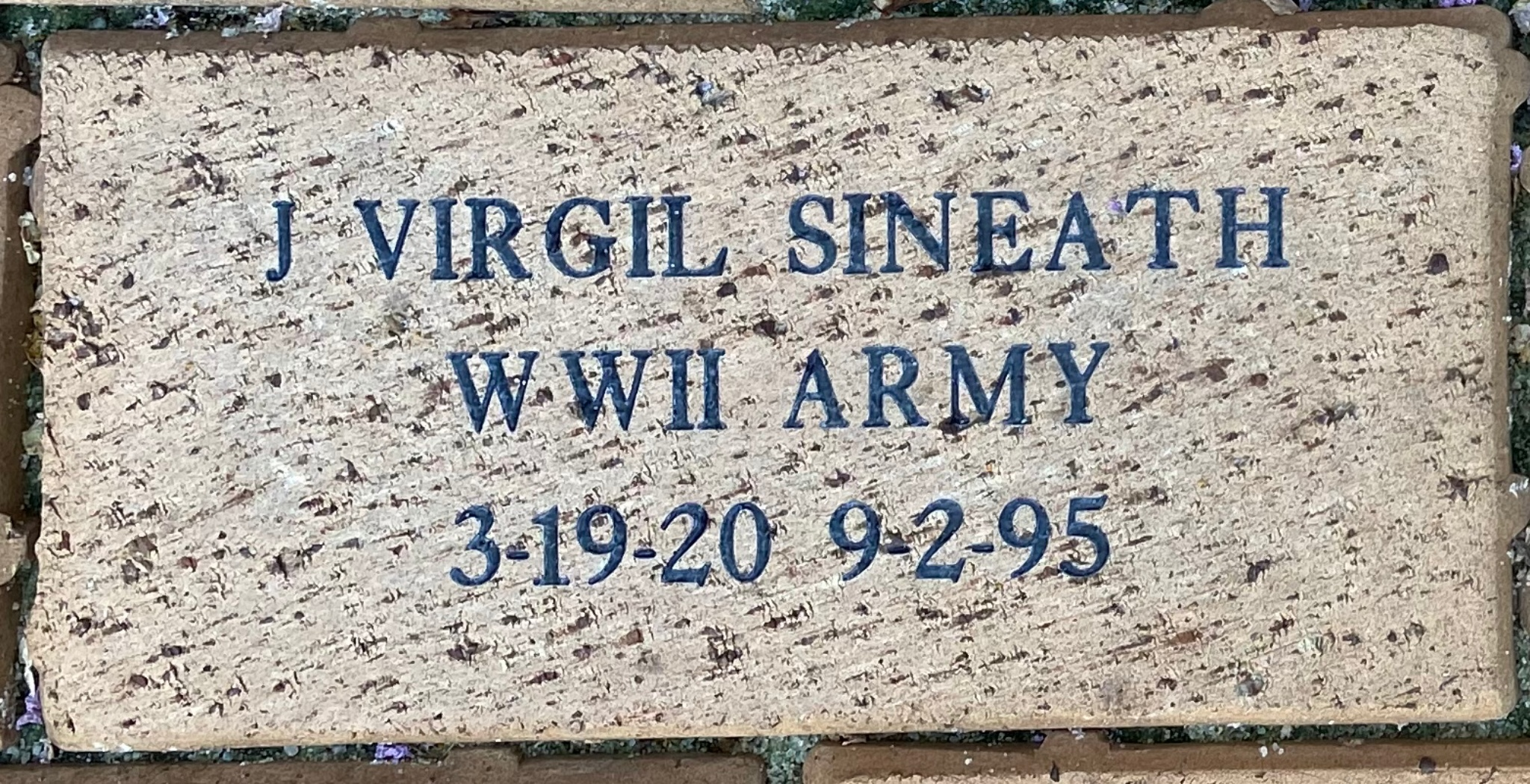J VIRGIL SINEATH WWII ARMY 3-19-20 9-2-95