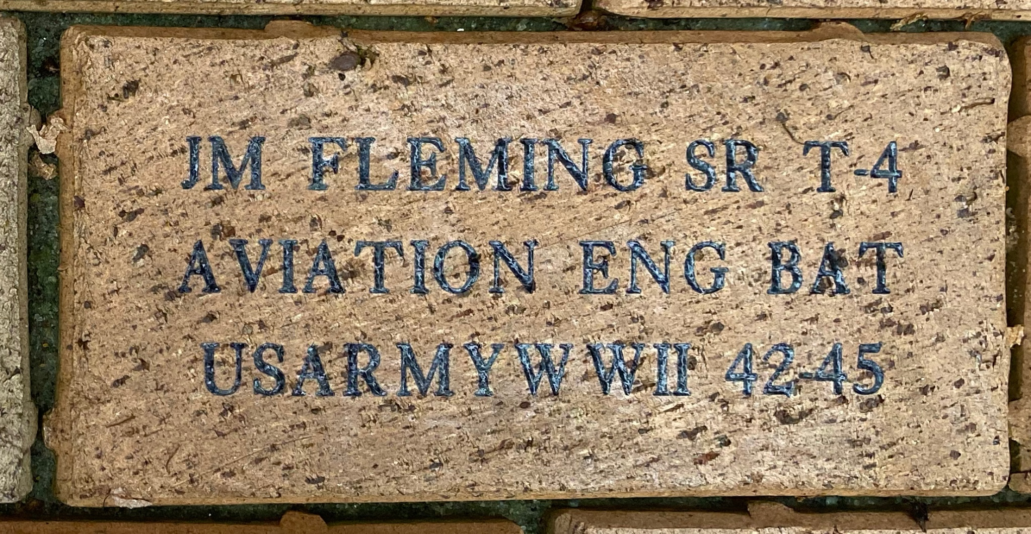 J.M. FLEMING SR T-4 AVIATION ENG BAT US ARMY WWII 42-45