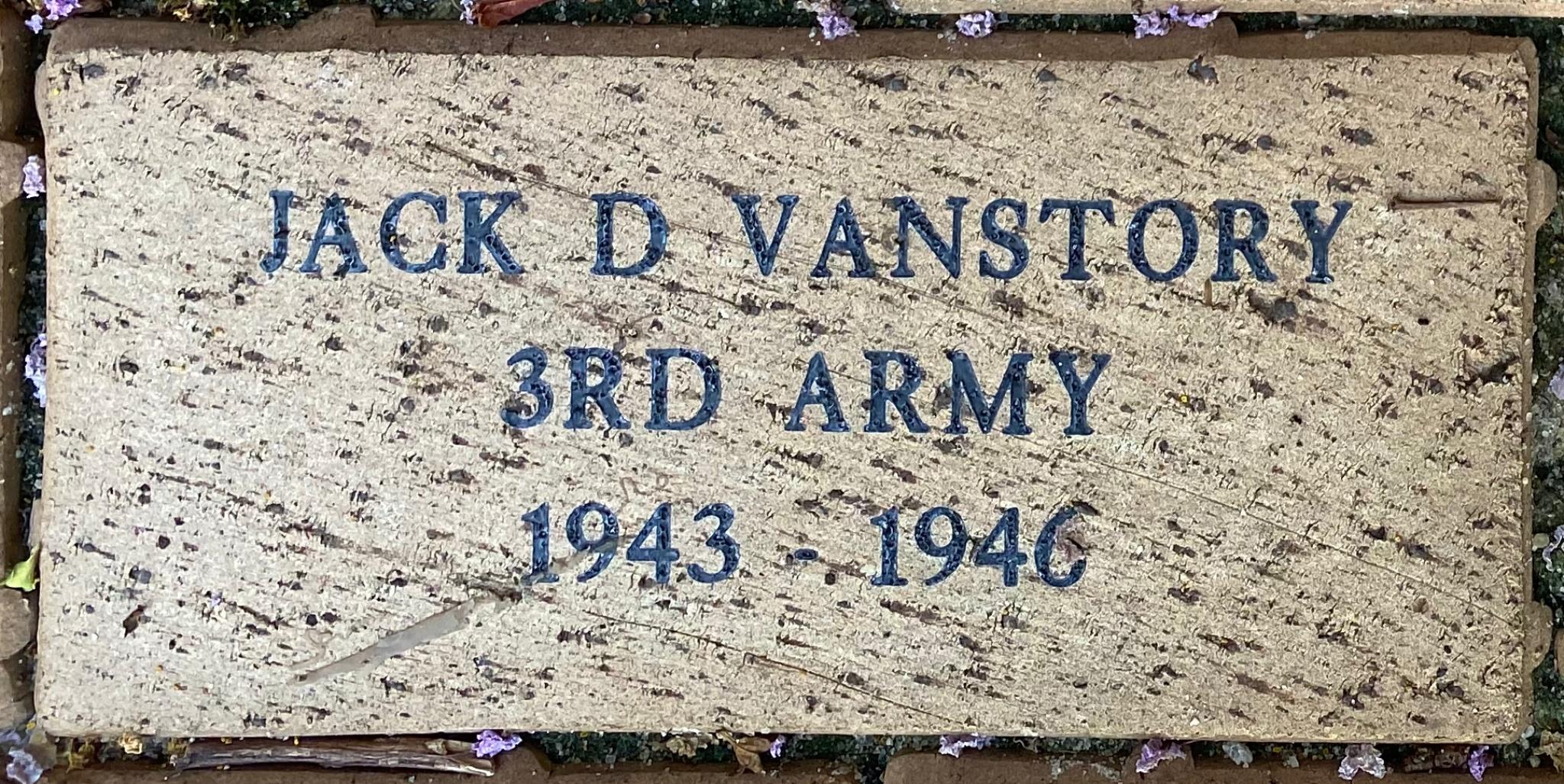 JACK D VANSTORY 3RD ARMY 1943 –- 1946