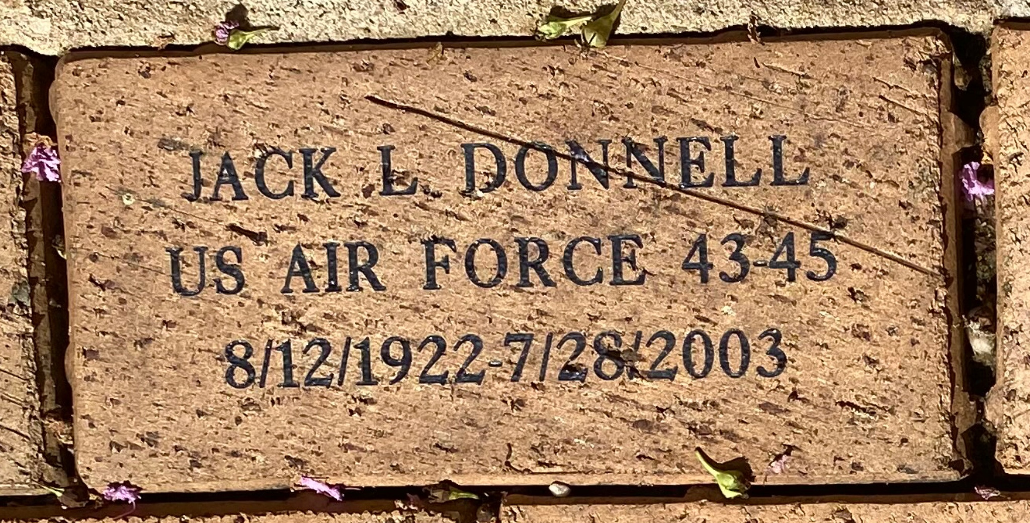 JACK L. DONNELL US AIR FORCE 43-45 8/12/1992 7/28/2003