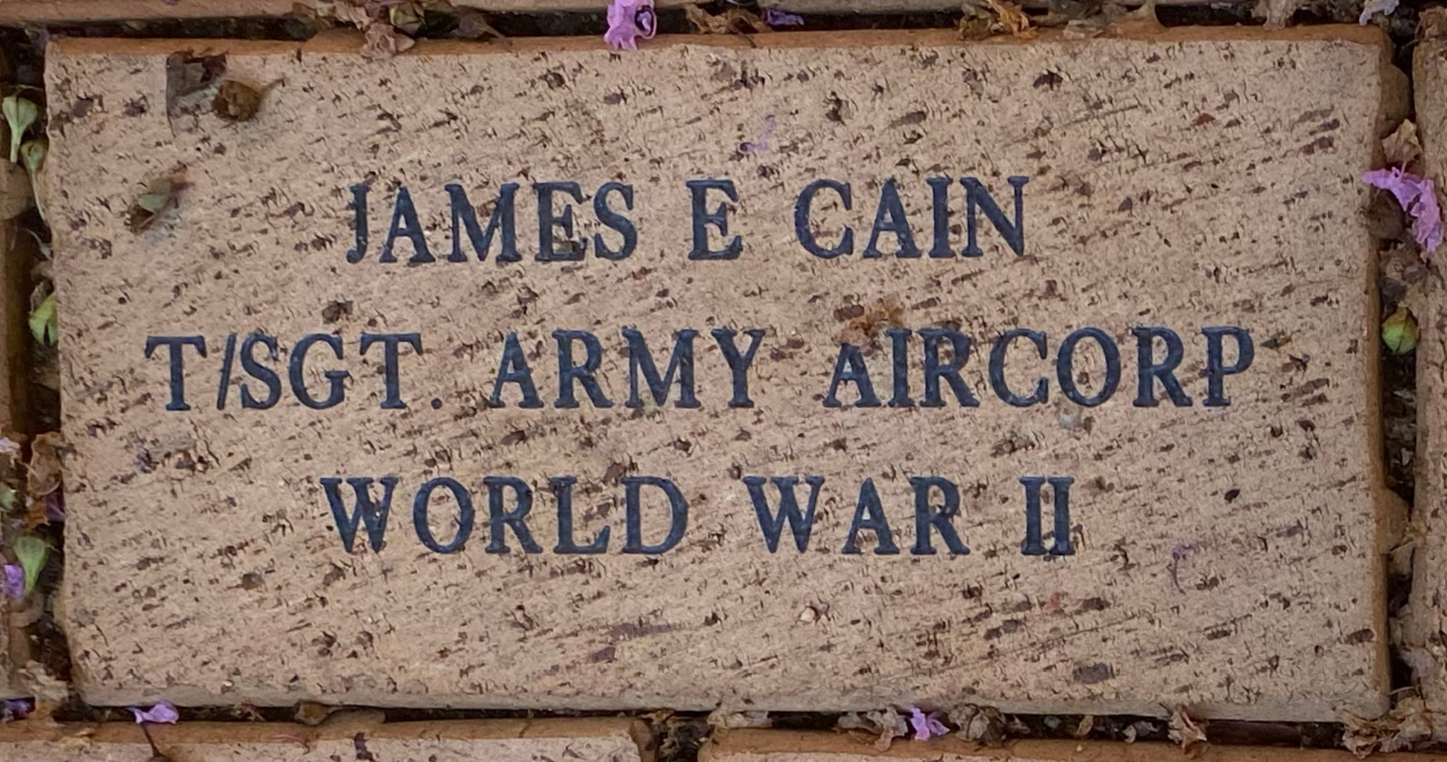 JAMES E CAIN T/SGT. ARMY AIRCORP WORLD WAR II