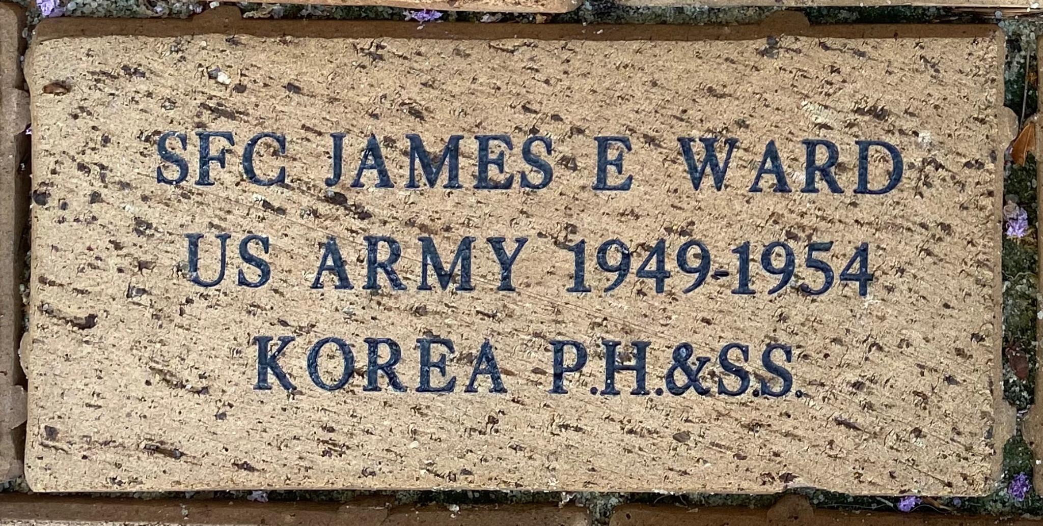 SFC JAMES E WARD US ARMY 1949- 1954 KOREA P.H. & S.S.