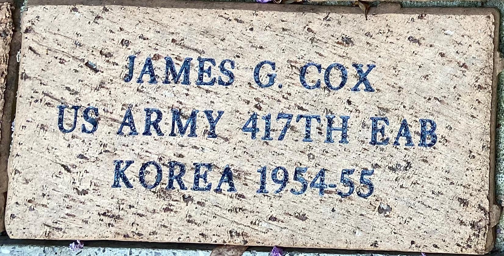 JAMES G. COX US ARMY 417TH EAB KOREA 1954-55