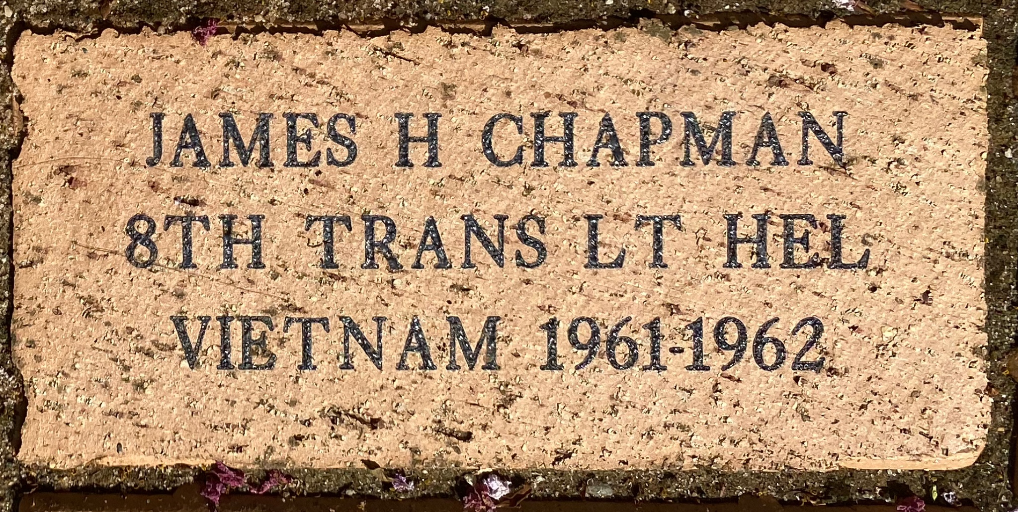 JAMES H CHAPMAN 8TH TRANS LT HEL VIETNAM 1961-1962