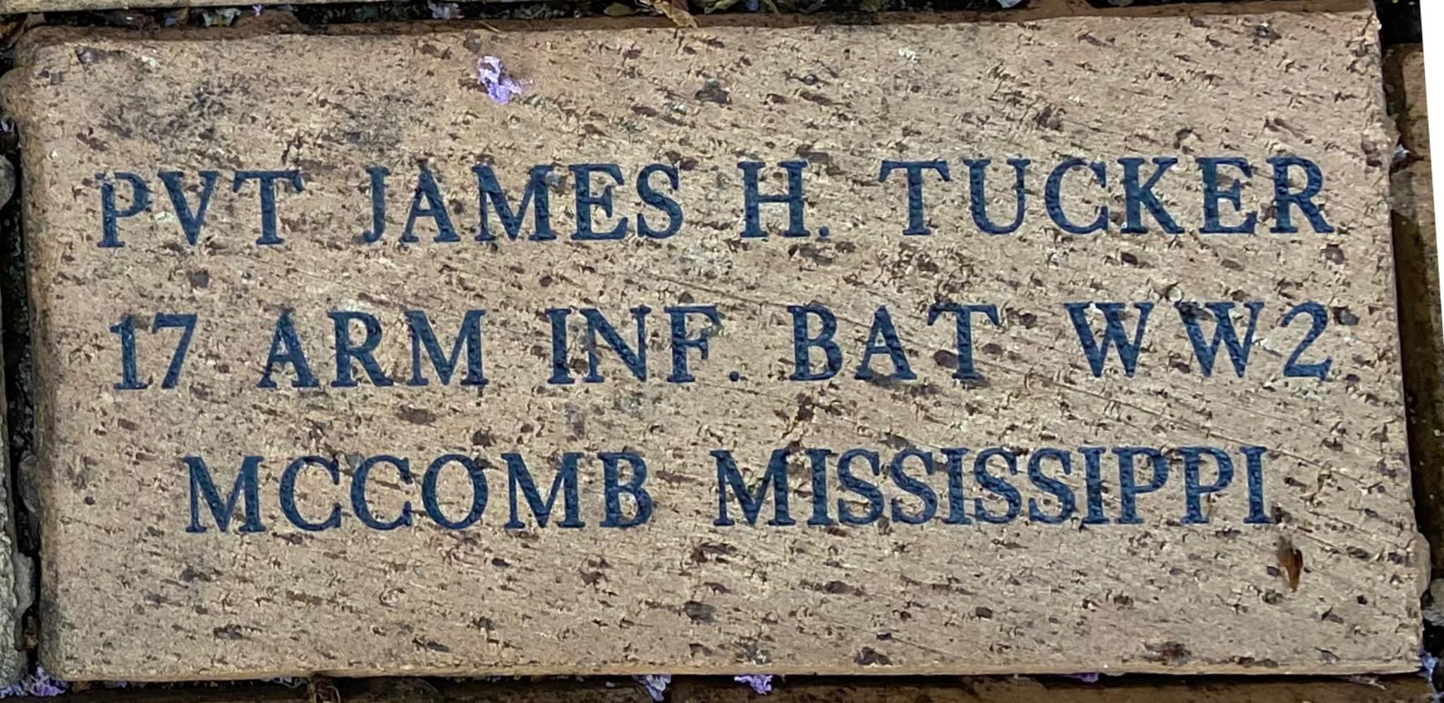 PVT JAMES H. TUCKER 17 ARM INF. BAT WW2 MCCOMB MISSISSIPPI