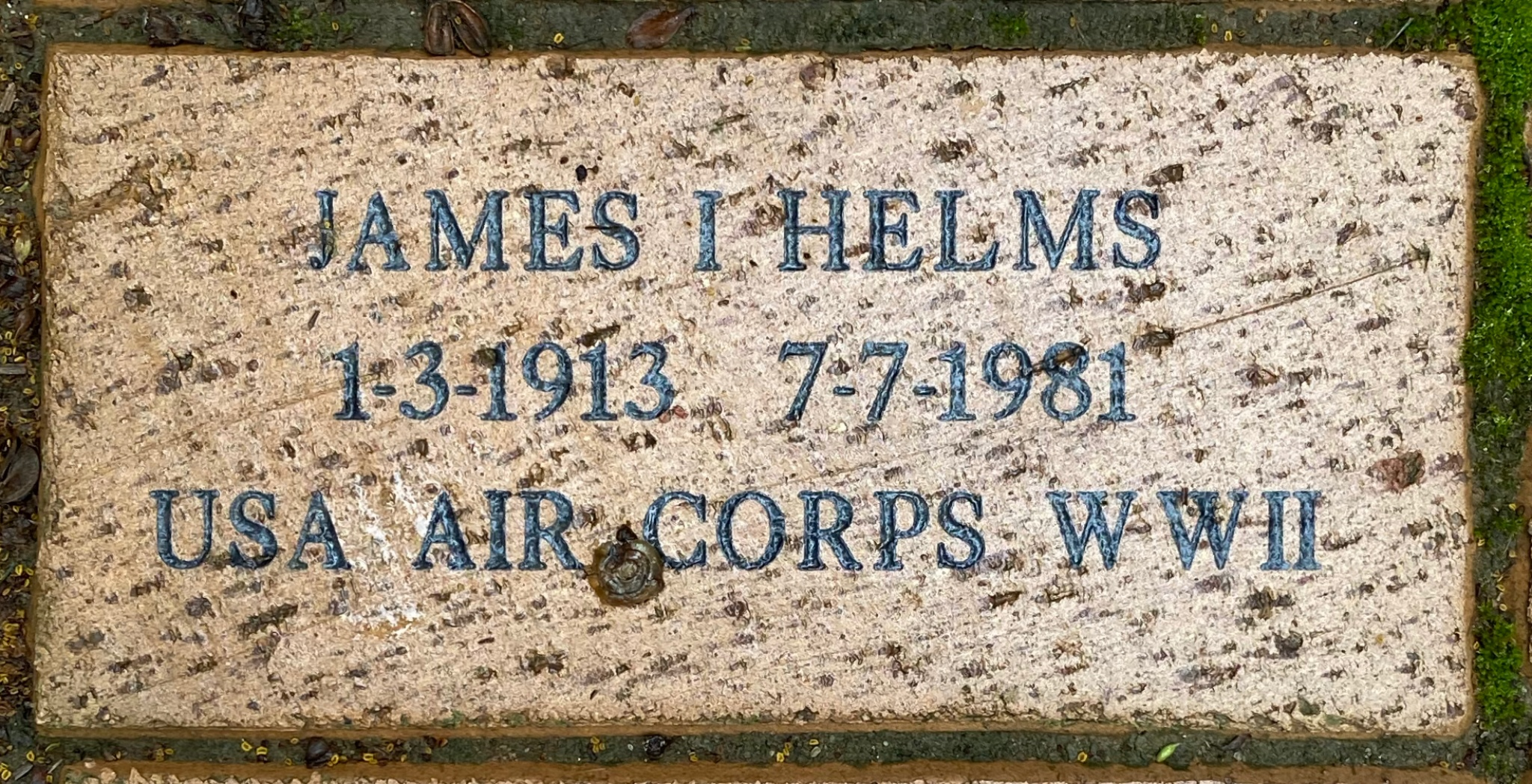 JAMES I HELMS 1-3-1913  7-7-1981 USA AIR CORPS WWII