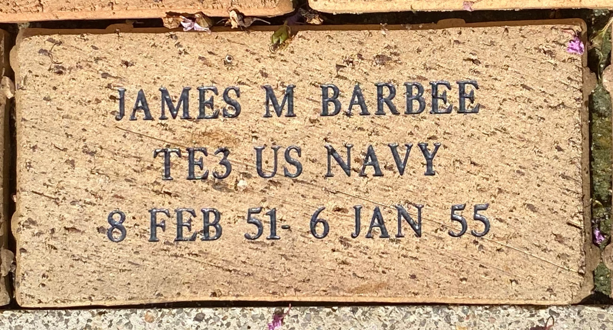 JAMES M BARBEE TE3 US NAVY 8 FEB 51 – JAN 55
