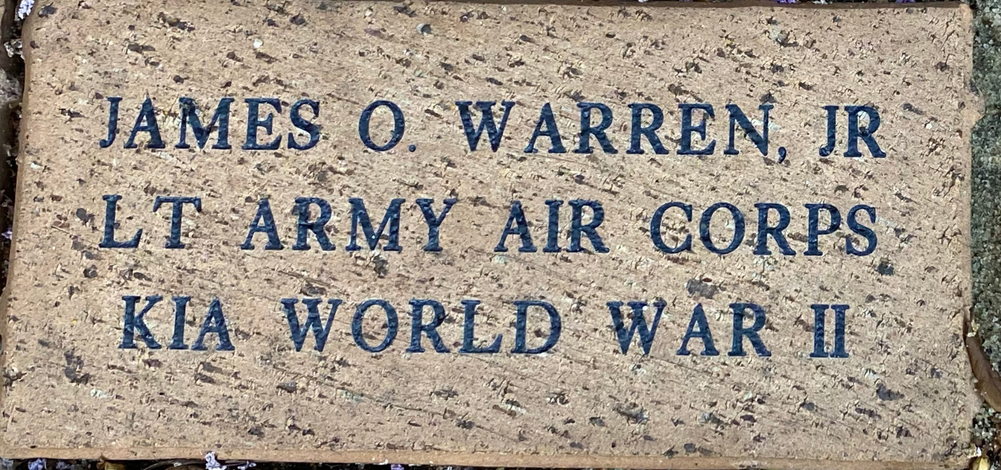 JAMES O. WARREN, JR LT ARMY AIR CORPS KIA WORLD WAR II