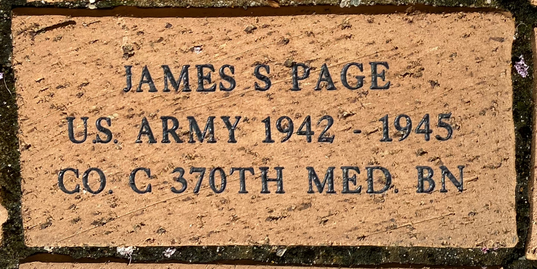 JAMES S PAGE U.S. ARMY 1942 – 1945 CO. C 370TH MED. BN