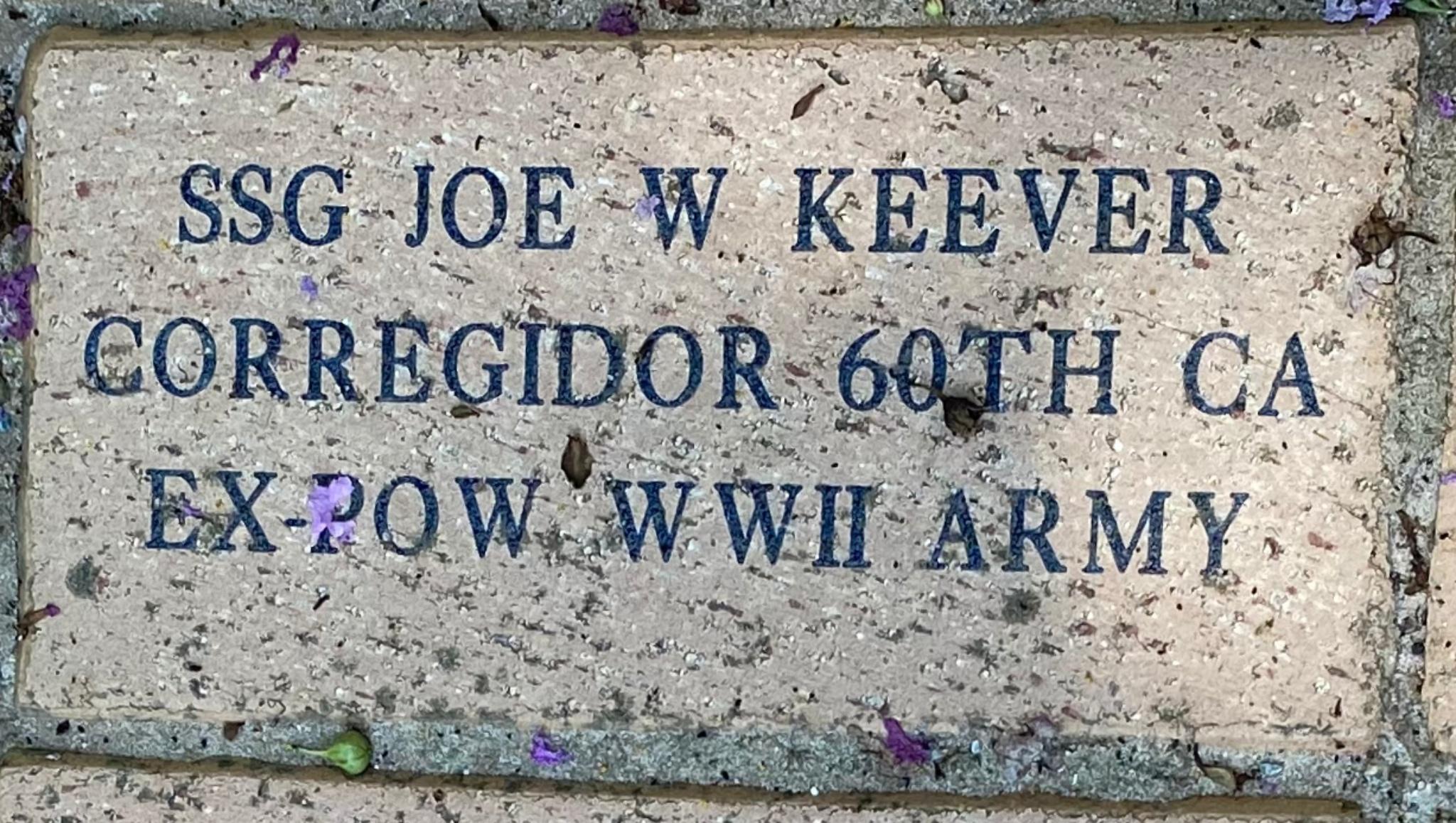 SSG JOE W KEEVER CORREGIDOR 60th CA EX-POW WWII ARMY