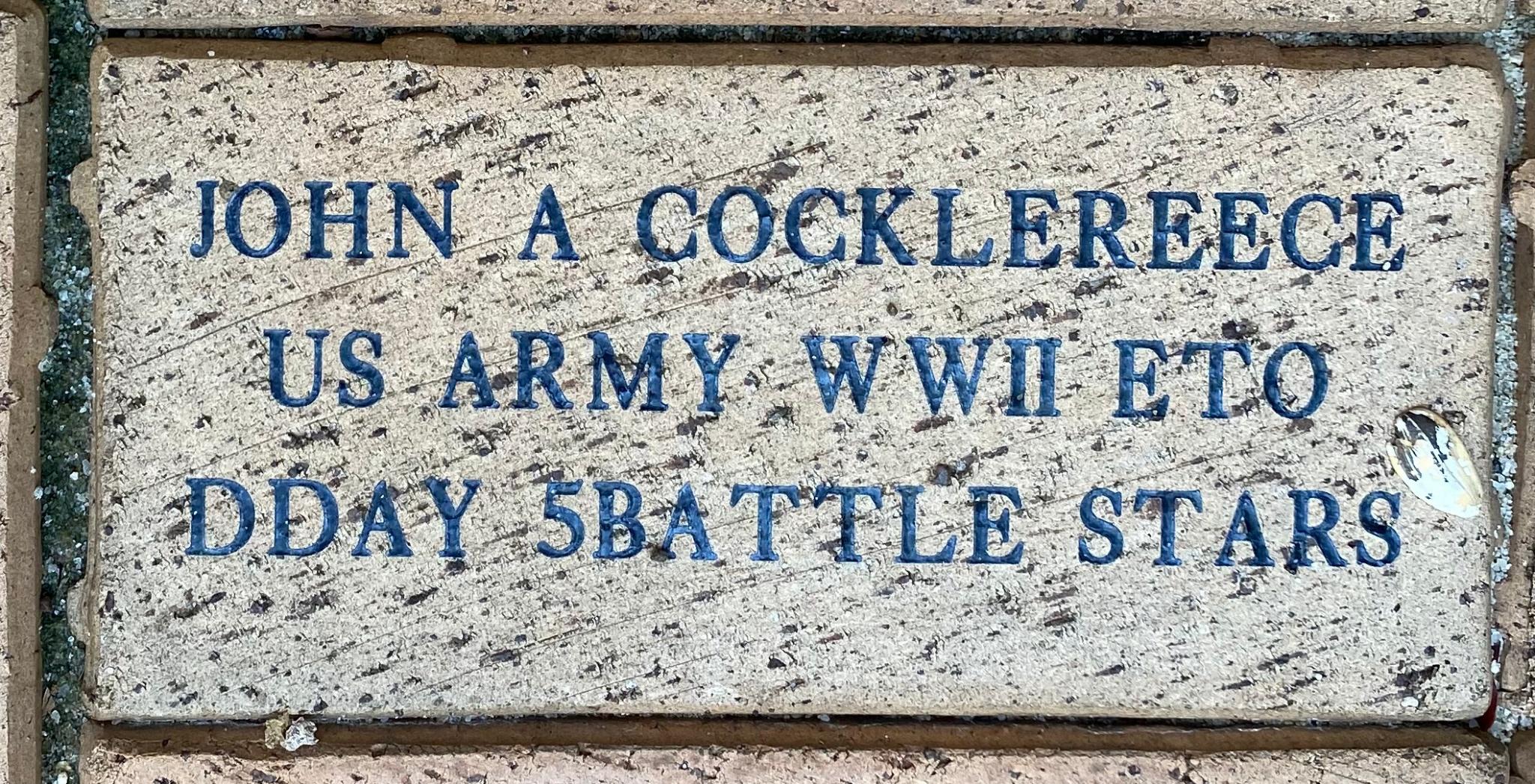 JOHN A COCKLEREECE US ARMY WWII ETO DDAY 5 BATTLE STARS