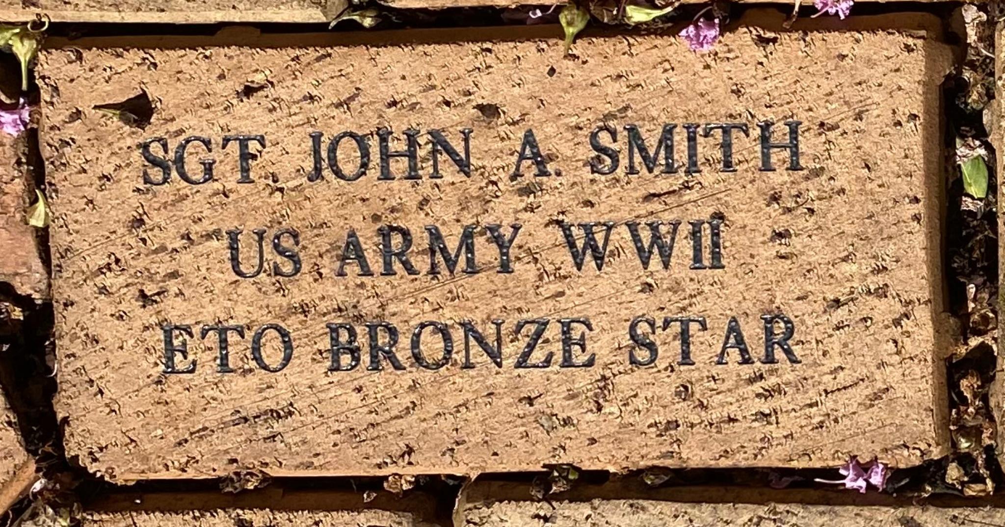 SGT JOHN A SMITH US ARMY WWII ETO BRONZE STAR
