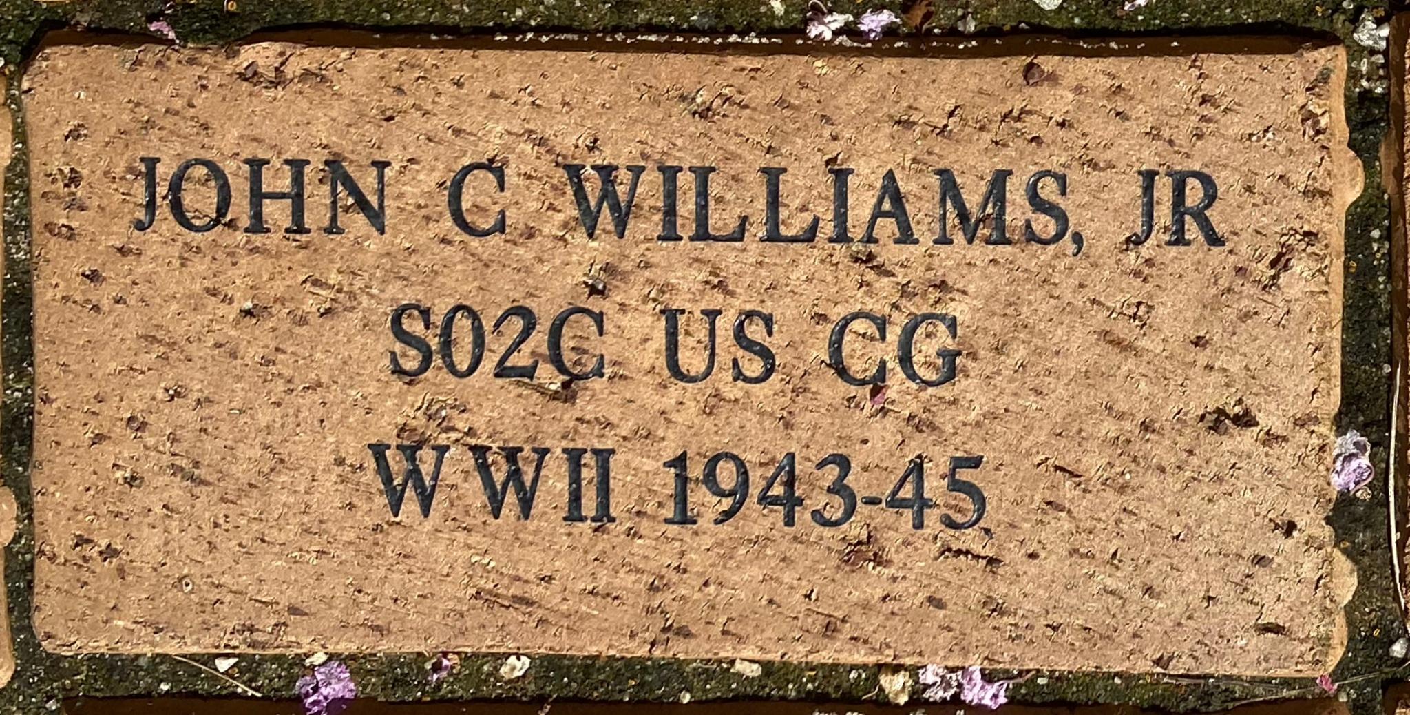 JOHN C WILLIAMS, JR S02C US CG WWII 1943-45