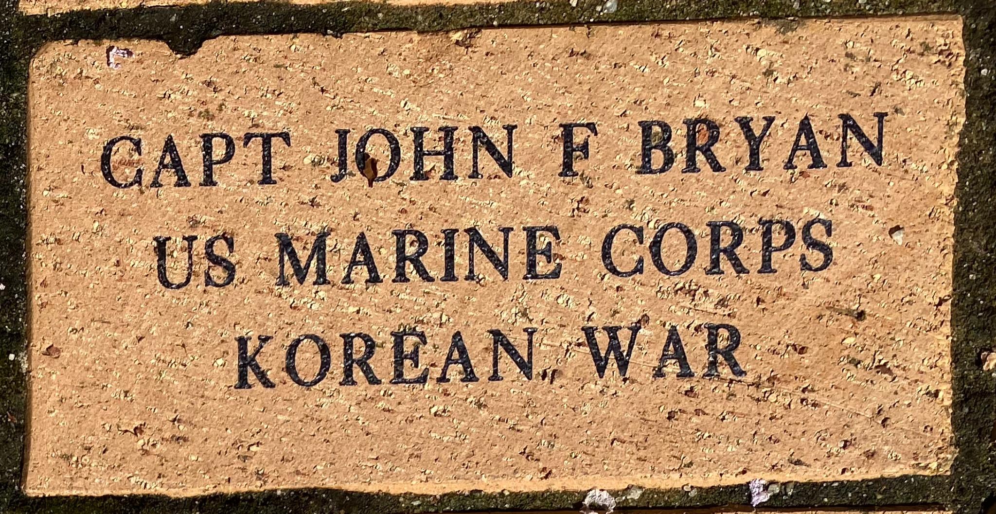 CAPT JOHN F BRYAN US MARINE CORPS KOREAN WAR