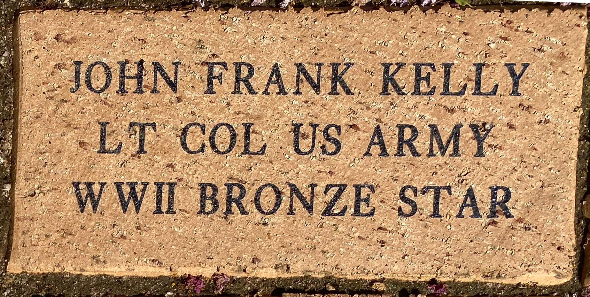 JOHN FRANK KELLY LT COL US ARMY WWII BRONZE STAR