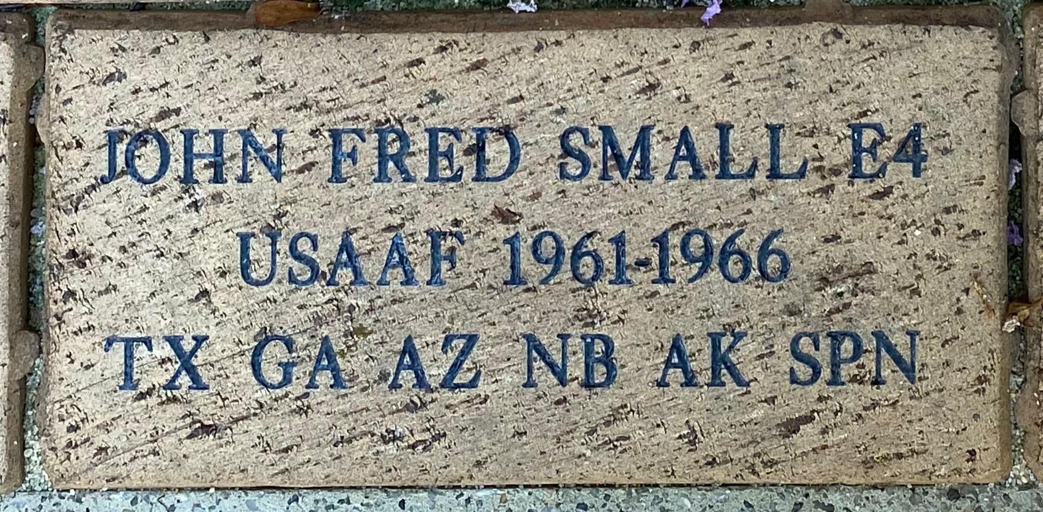 JOHN FRED SMALL E4 USAF 1961-1966 TX GA AZ NB AK SPN