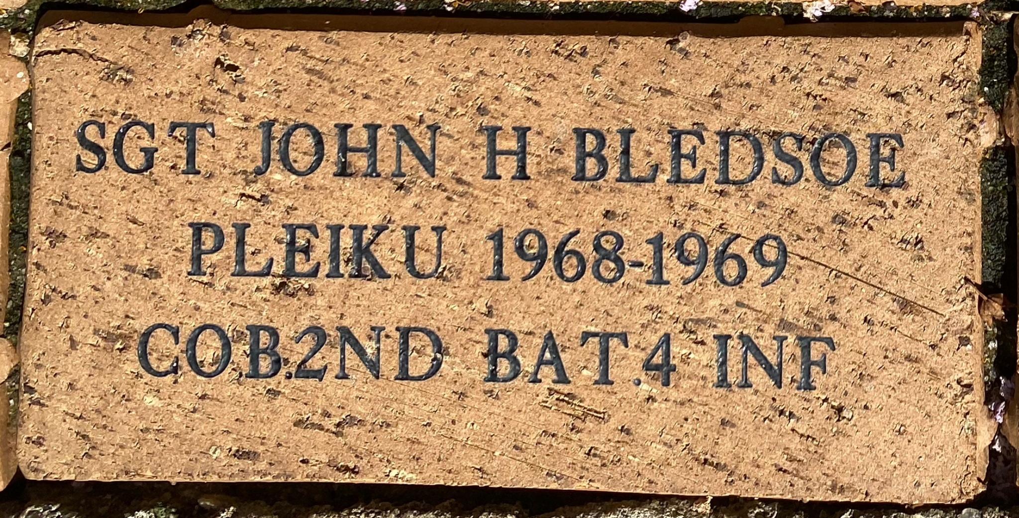 SGT JOHN H BLEDSOE PLEIKU 1968-1969 COB.2ND BAT 4 INF