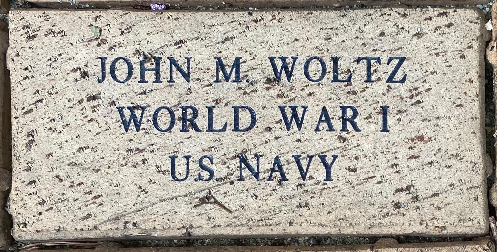 JOHN M. WOLTZ WORLD WAR I U.S. NAVY