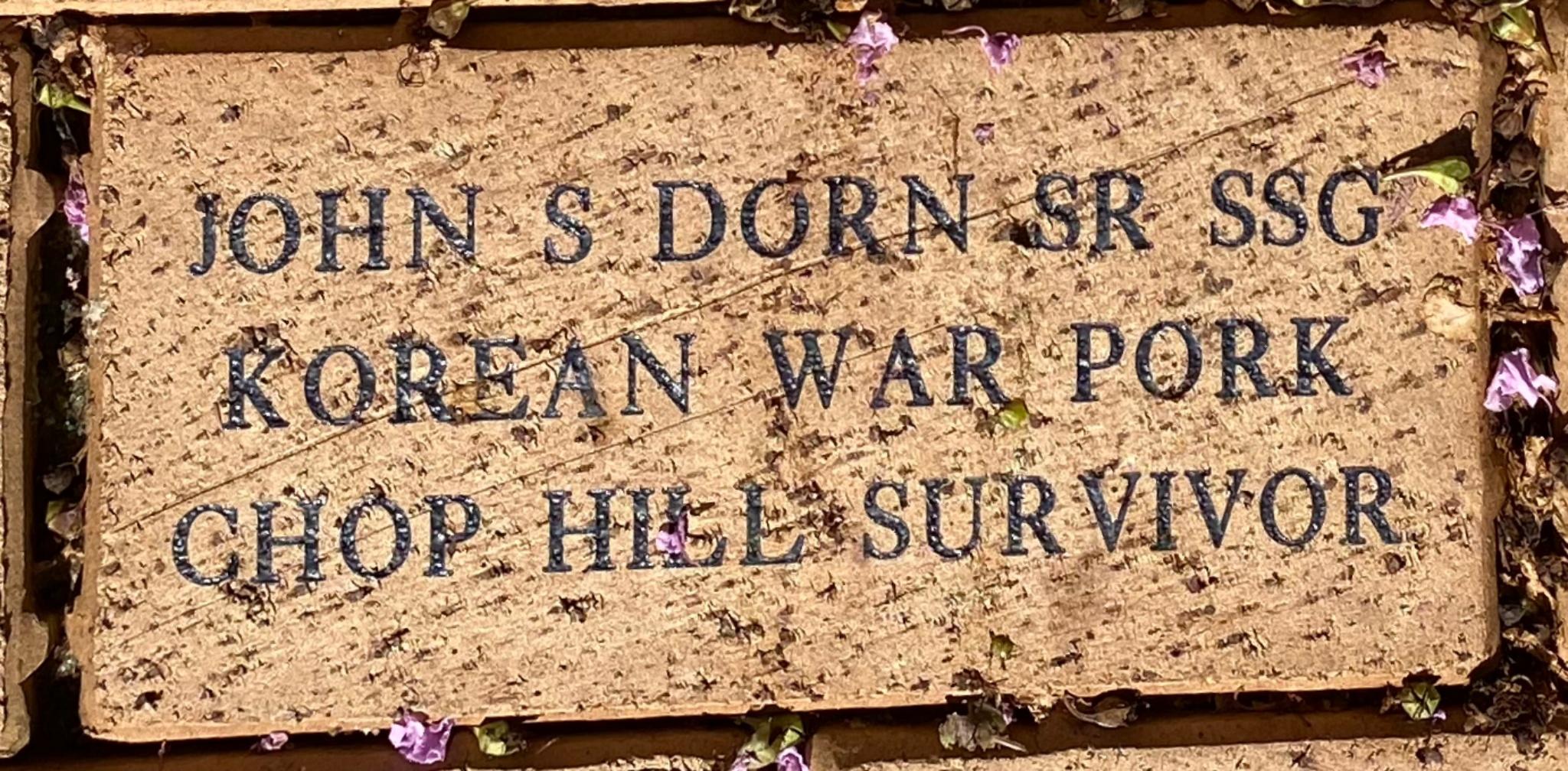JOHN S DORN SR SSG KOREAN WAR PORK CHOP HILL SURVIVOR