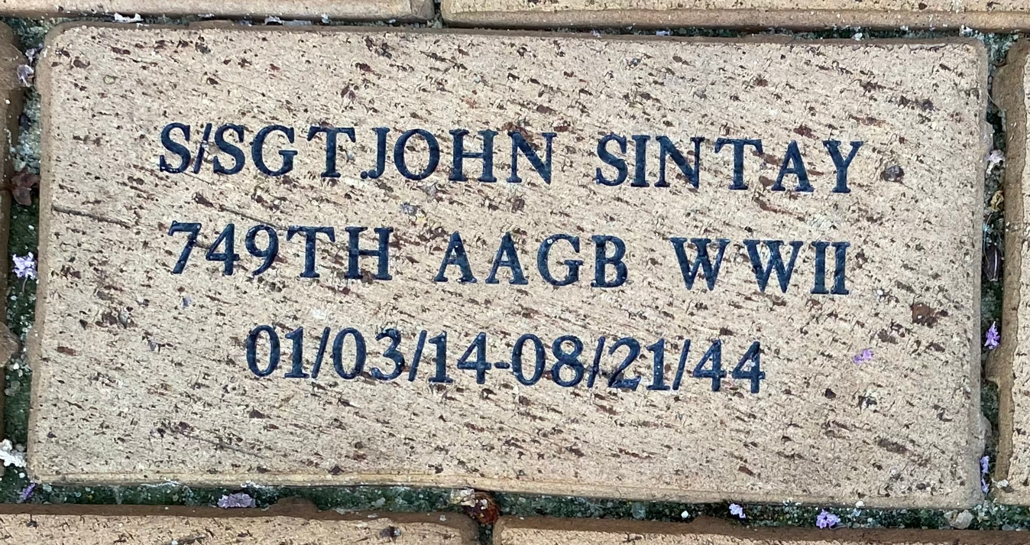 S/SGT JOHN SINTAY 749TH AAGB WWII 01/03/14-08/21/44