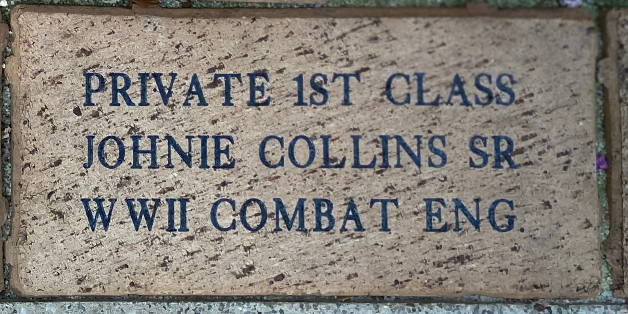PRIVATE 1ST CLASS JOHNIE COLLINS SR WWII COMBAT ENG