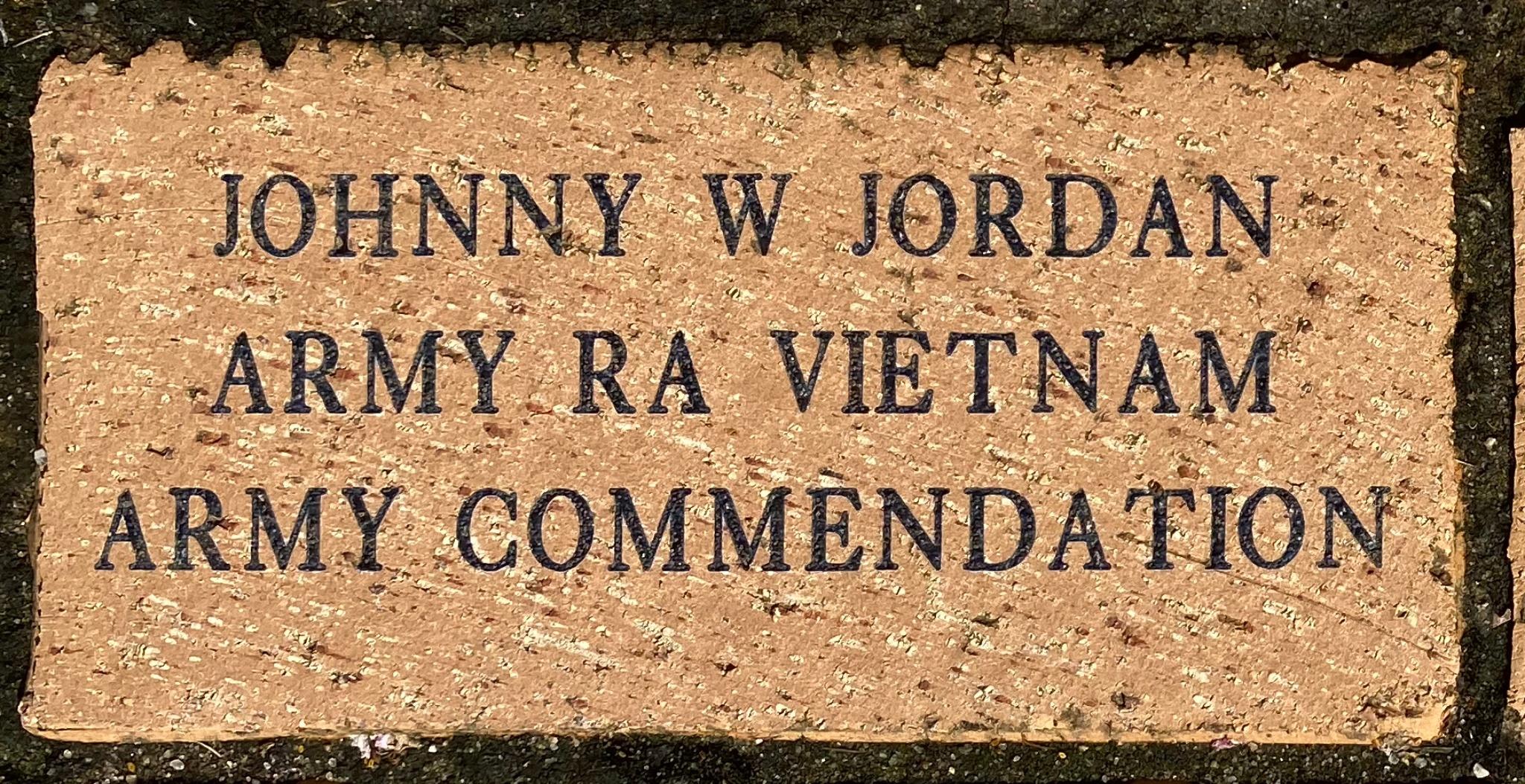 JOHNNY W JORDAN ARMY RA VIETNAM ARMY COMMENDATION