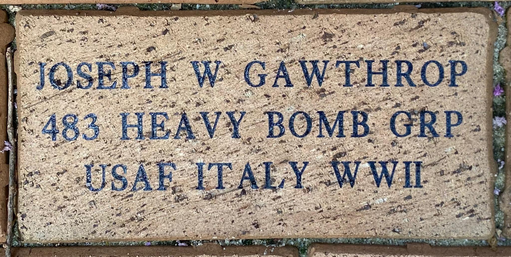 JOSEPH W GAWTHROP 483 HEAVY BOMB GRP USAF ITALY WWII