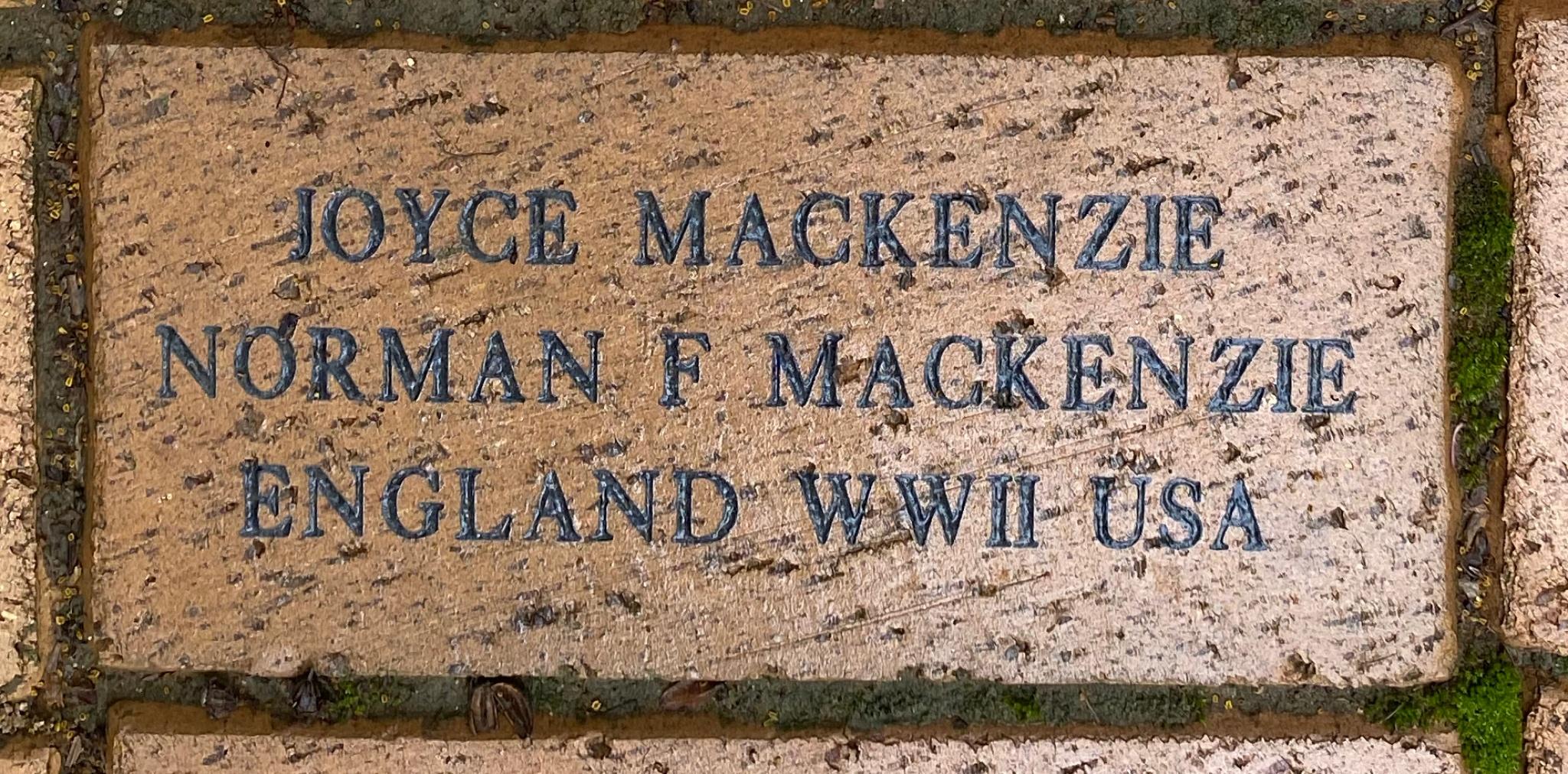 JOYCE MACKENZIE NORMAN F MACKENZIE ENGLAND WWII USA