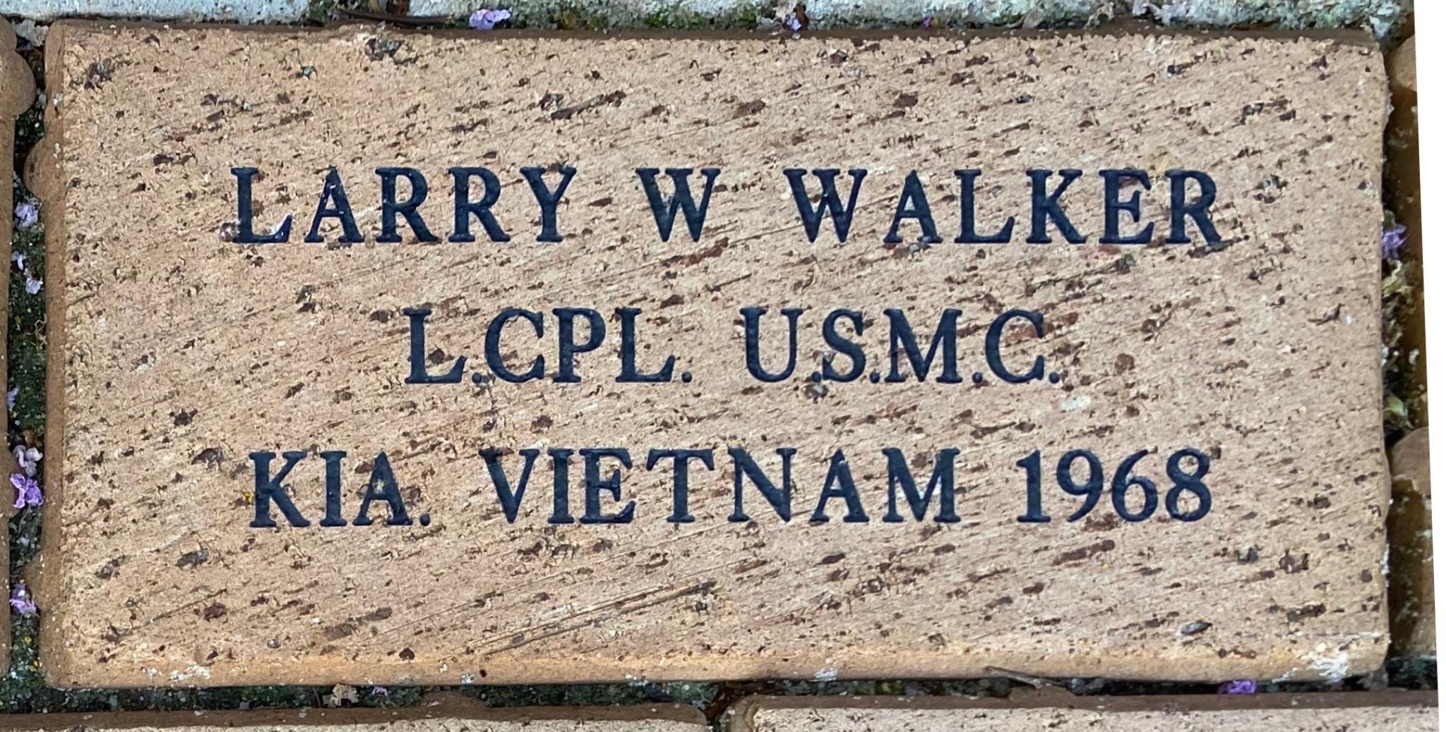 LARRY W WALKER L.CPL. U.S.M.C. KIA. VIETNAM 1968