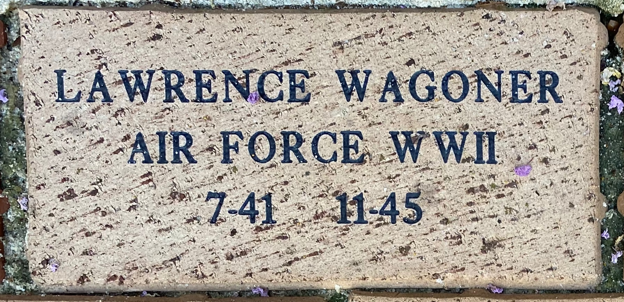 LAWRENCE WAGONER AIR FORCE WWII 7-41-11-45