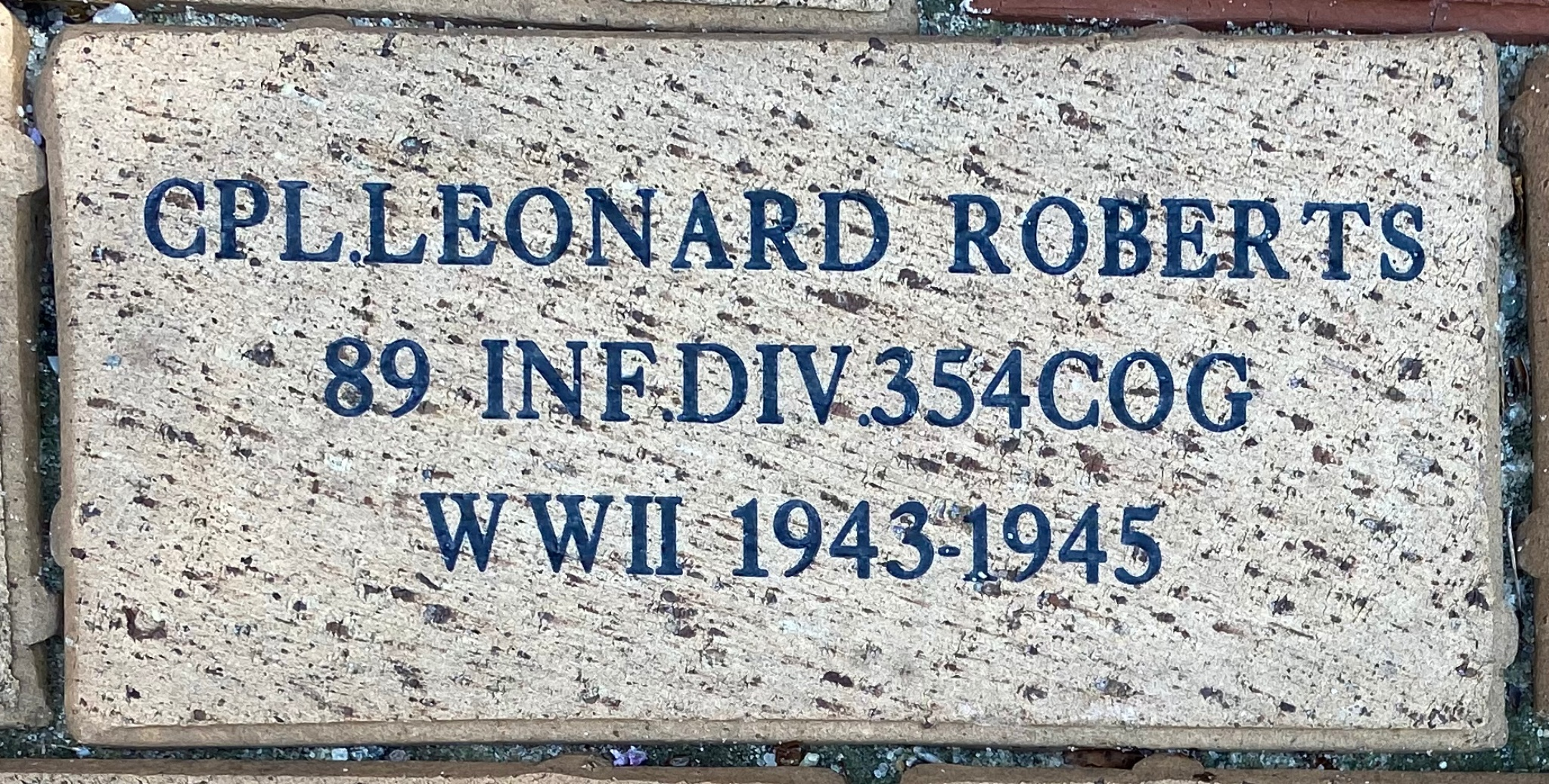 CPL LEONARD ROBERTS 89 INF.DIV 354COG WWII 1943-1945