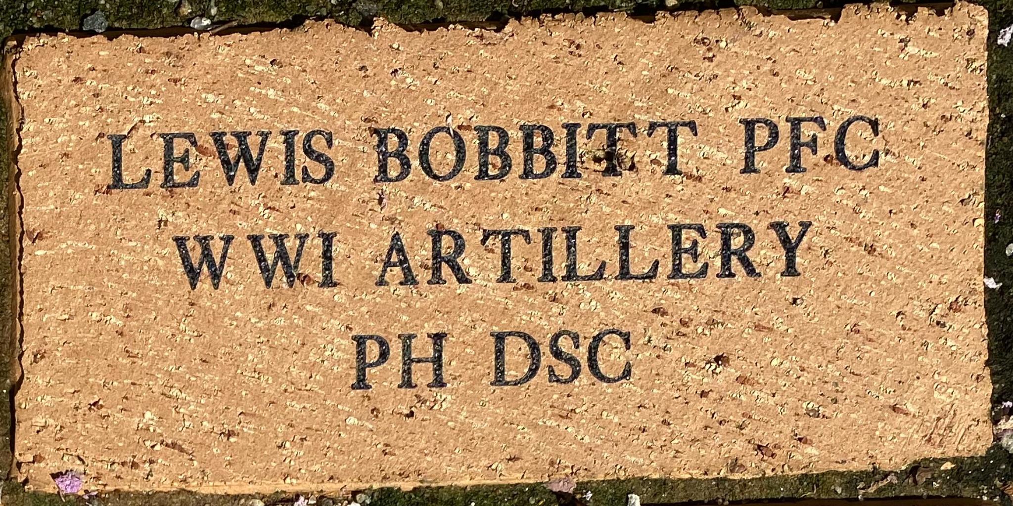 LEWIS BOBBITT PFC WWI ARTILLERY PH DSC