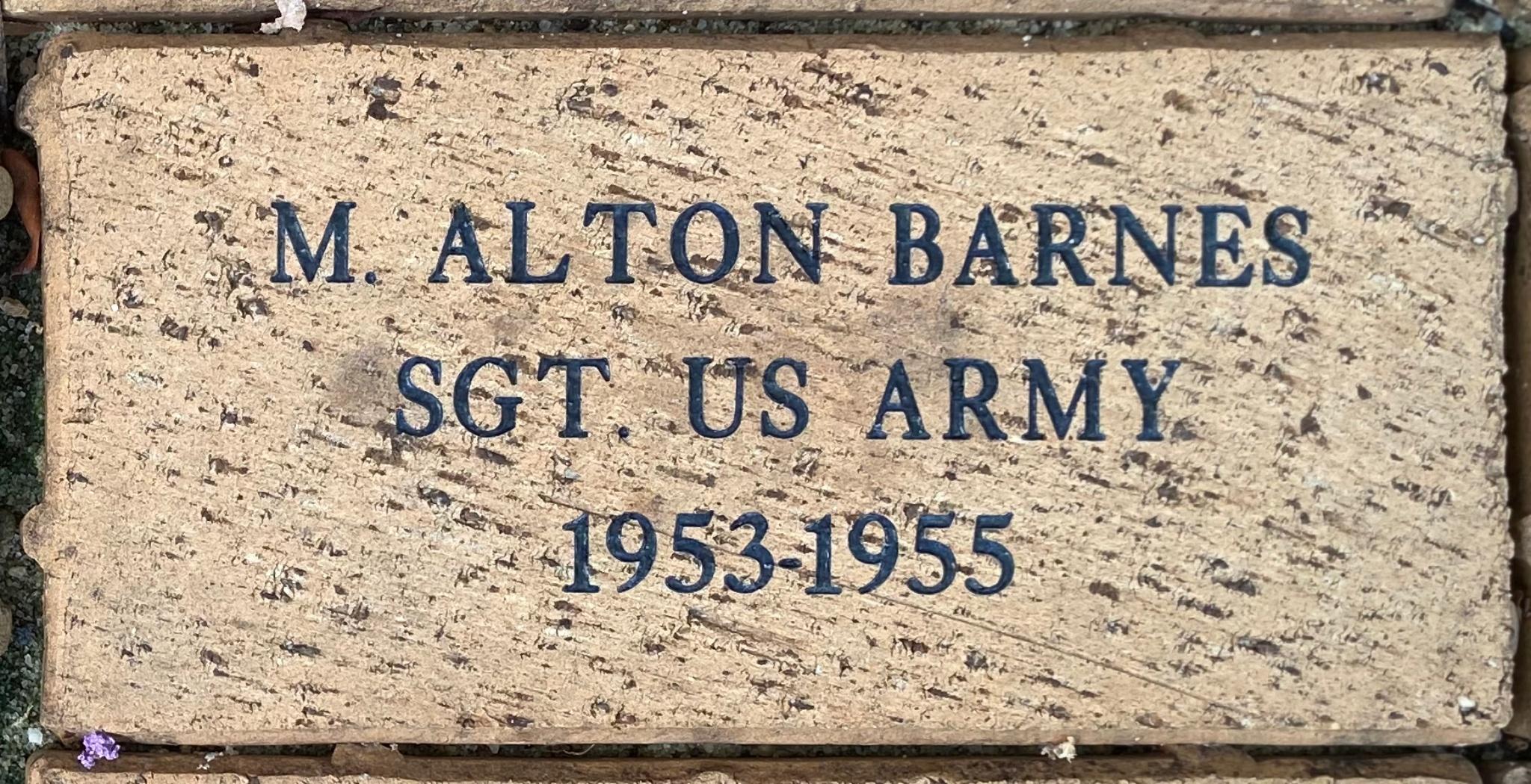 M. ALTON BARNES SGT. US ARMY 1953-1955