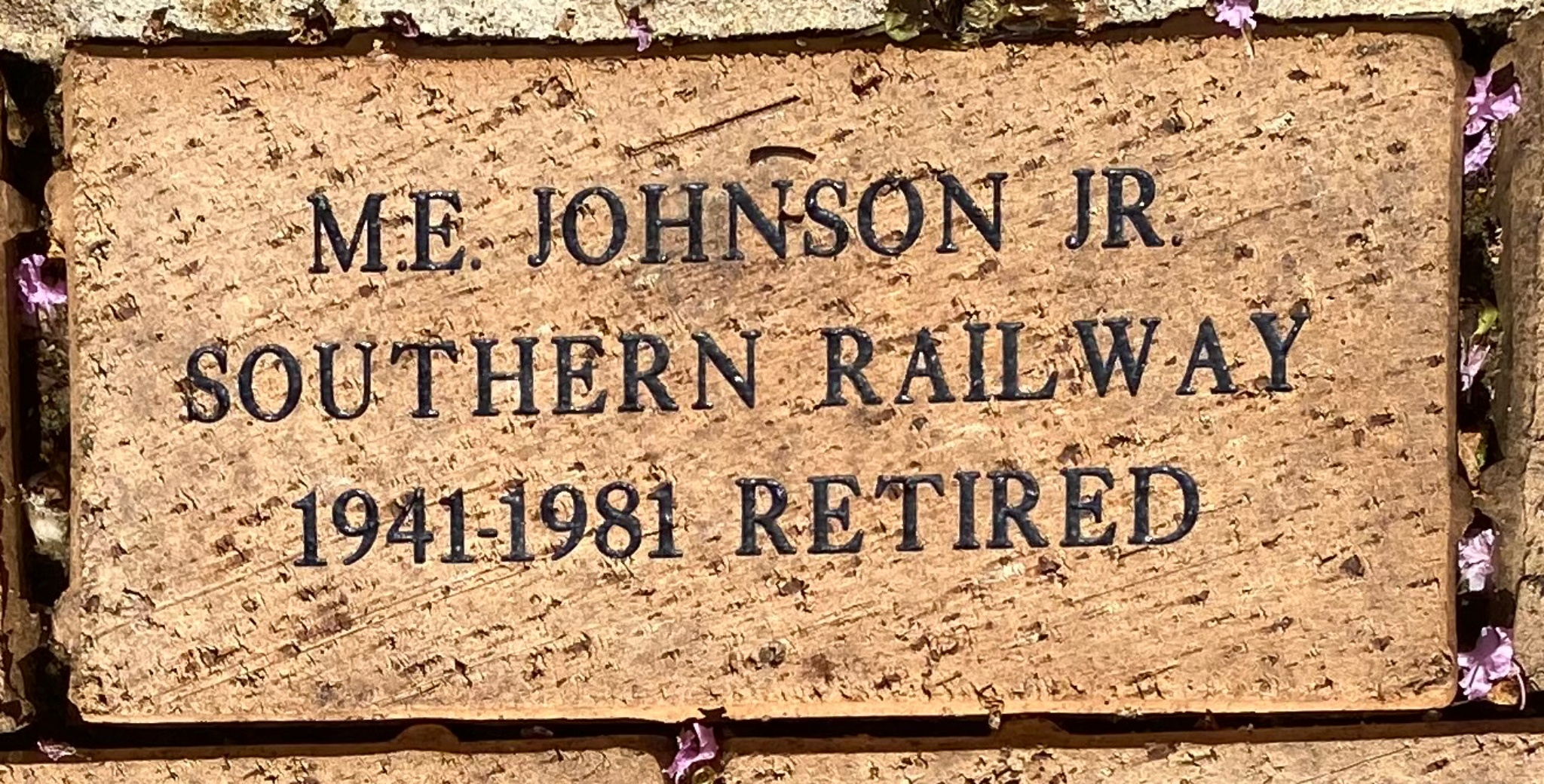 M.E. JOHNSON JR. SOUTHERN RAILWAY 1941-1981 RETIRED