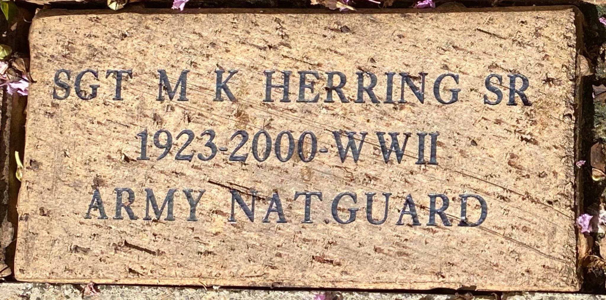 SGT M K HERRING SR 1923-2000 WWII ARMY NAT. GUARD