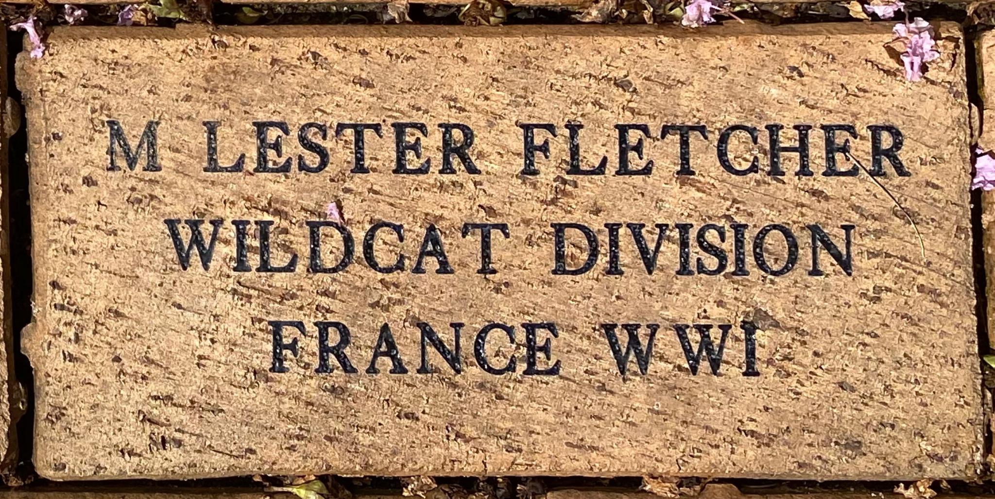 M LESTER FLETCHER WILDCAT DIVISION FRANCE WWI