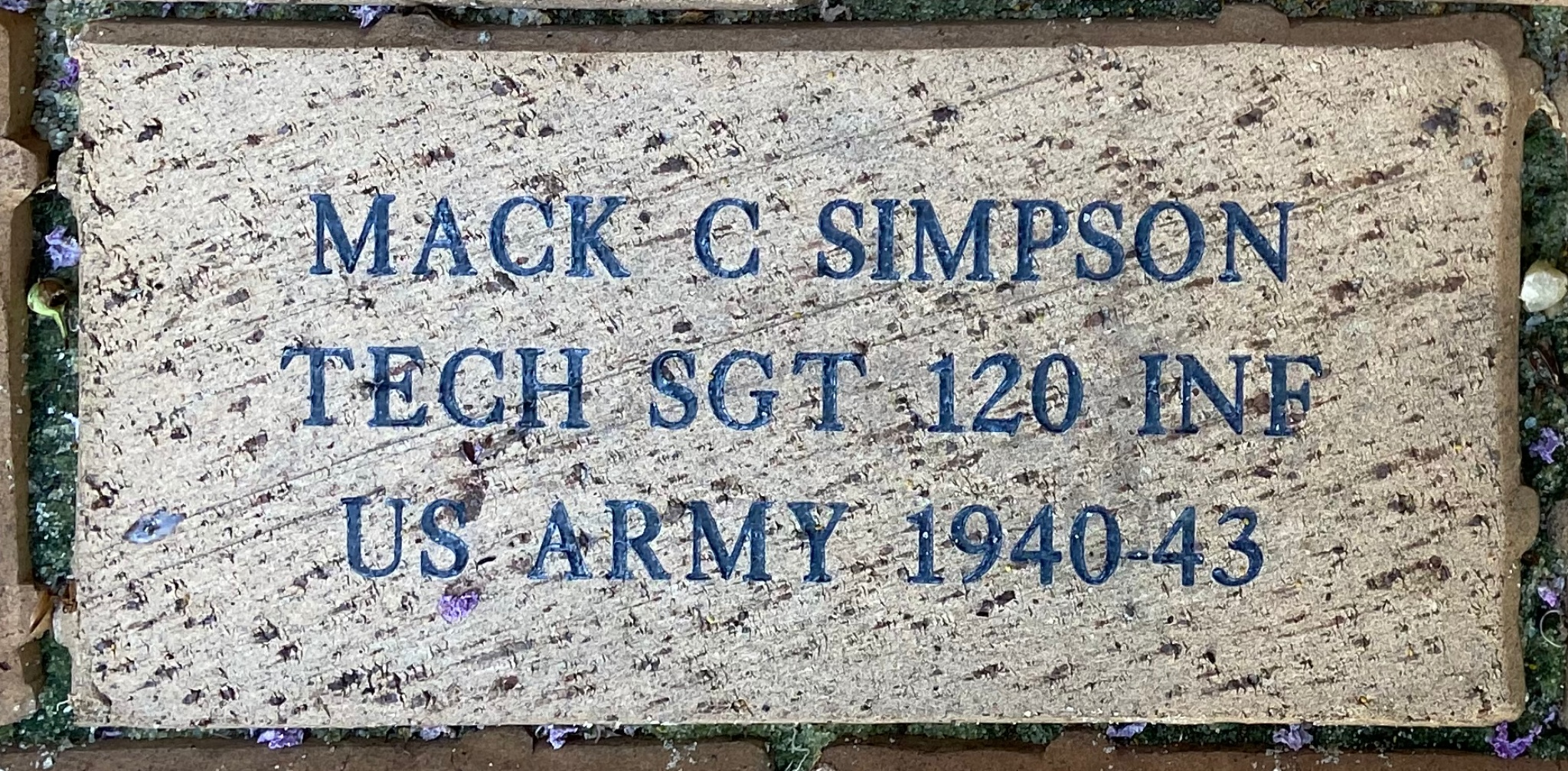MACK C SIMPSON TECH SGT 120 INF US ARMY 1940-43