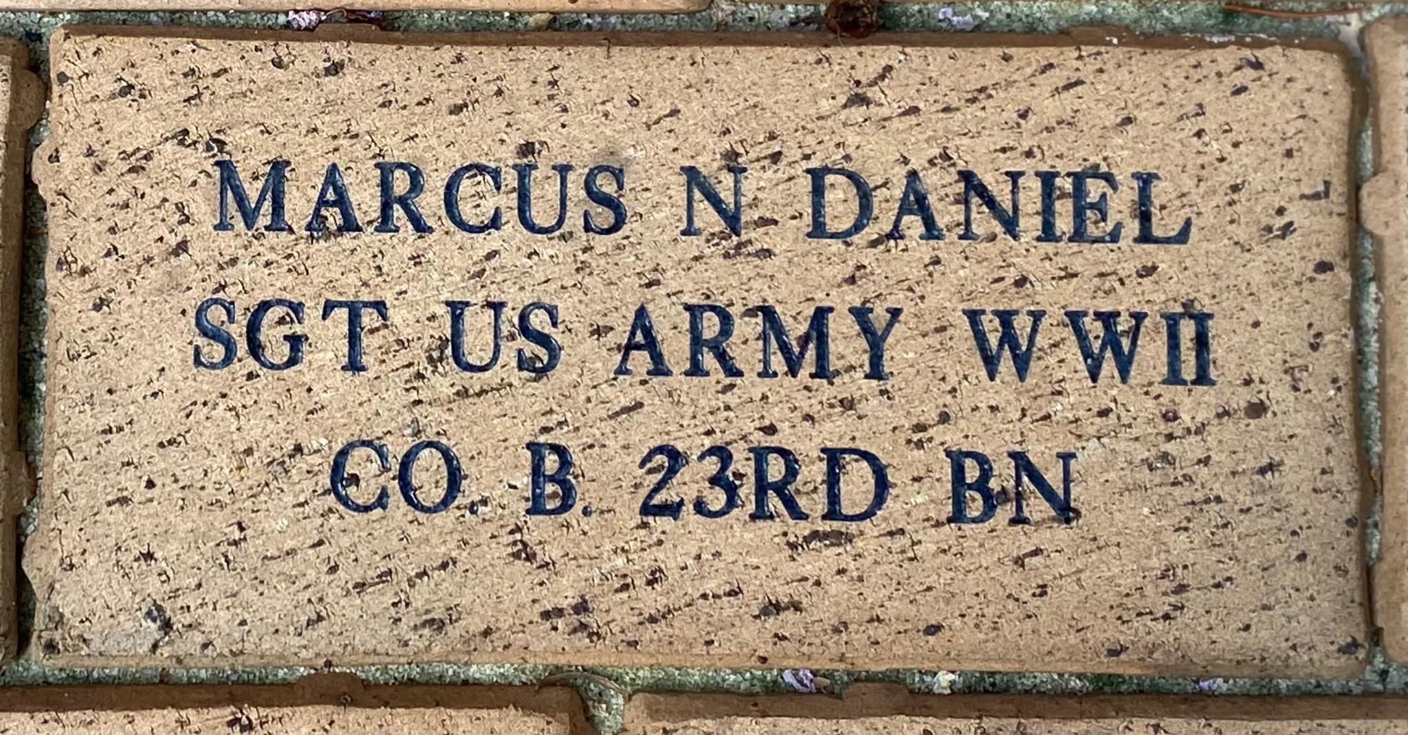 MARCUS N DANIEL SGT US ARMY WWII CO.B 23RD BN