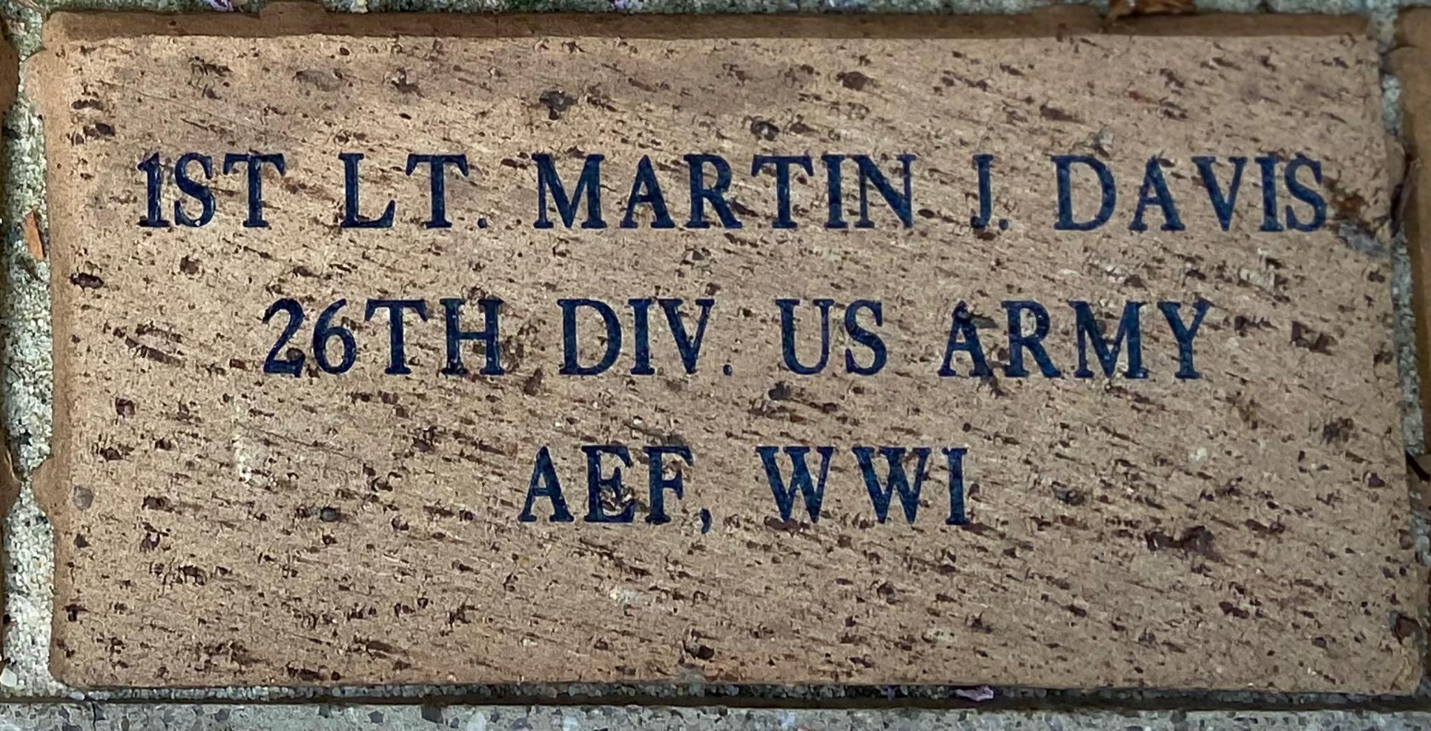 1ST LT. MARTIN J. DAVIS 26TH DIV. US ARMY AEF, WWI