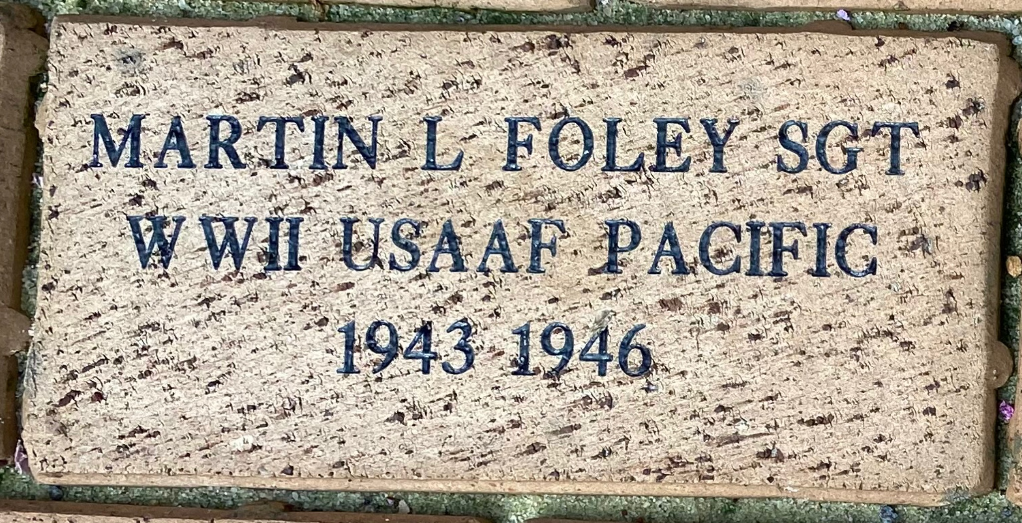 MARTIN L FOLEY SGT WWII USAAF PACIFIC 1943-1946