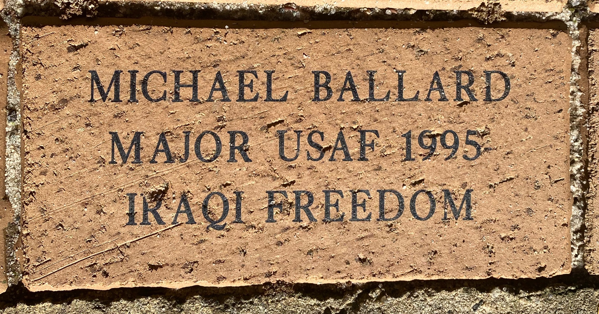 MICHAEL BALLARD MAJOR USAF 1995 IRAQI FREEDOM