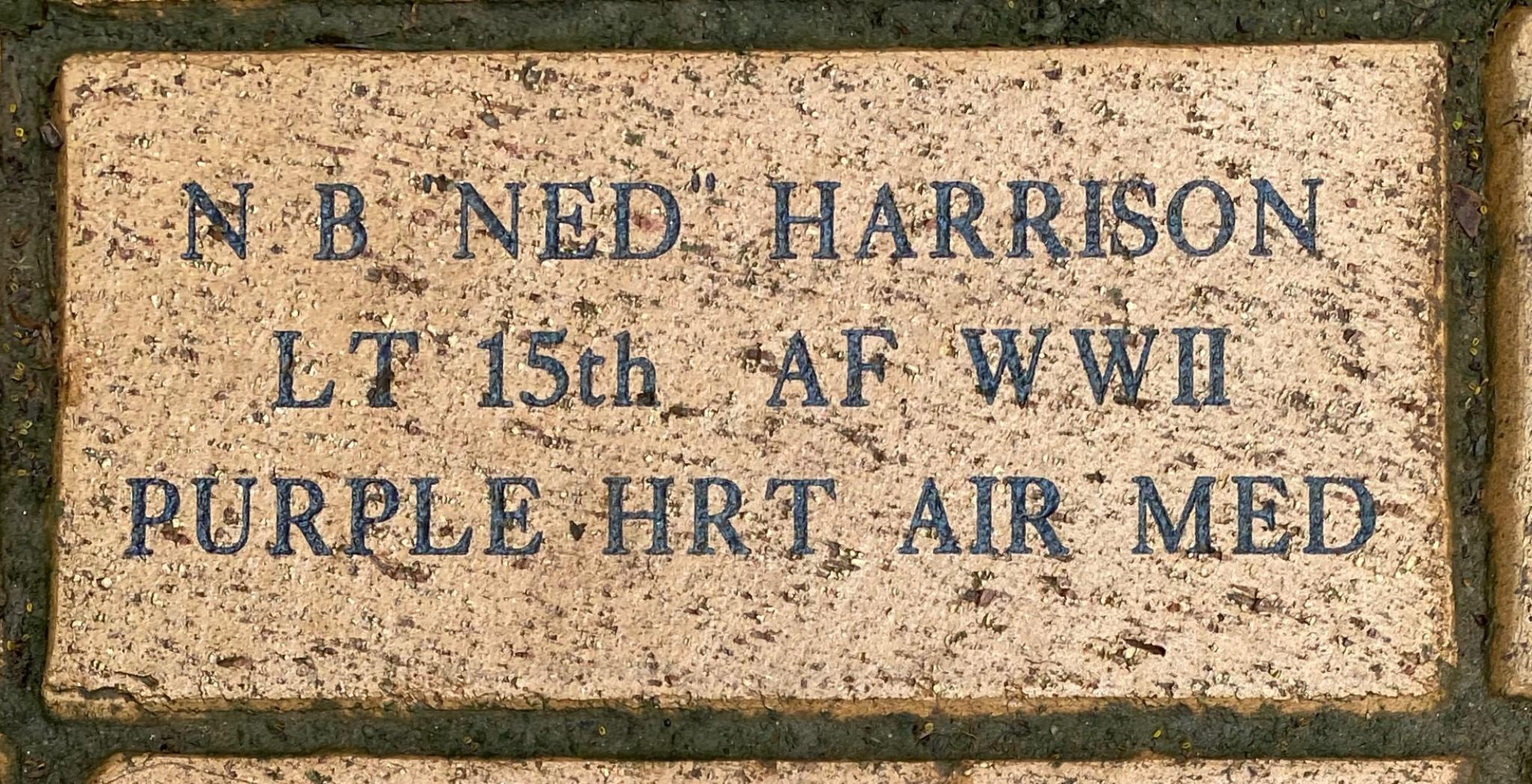 """N B """"NED"""" HARRISON LT 15th AF WWII PURUPLE HRT AIR MED"""