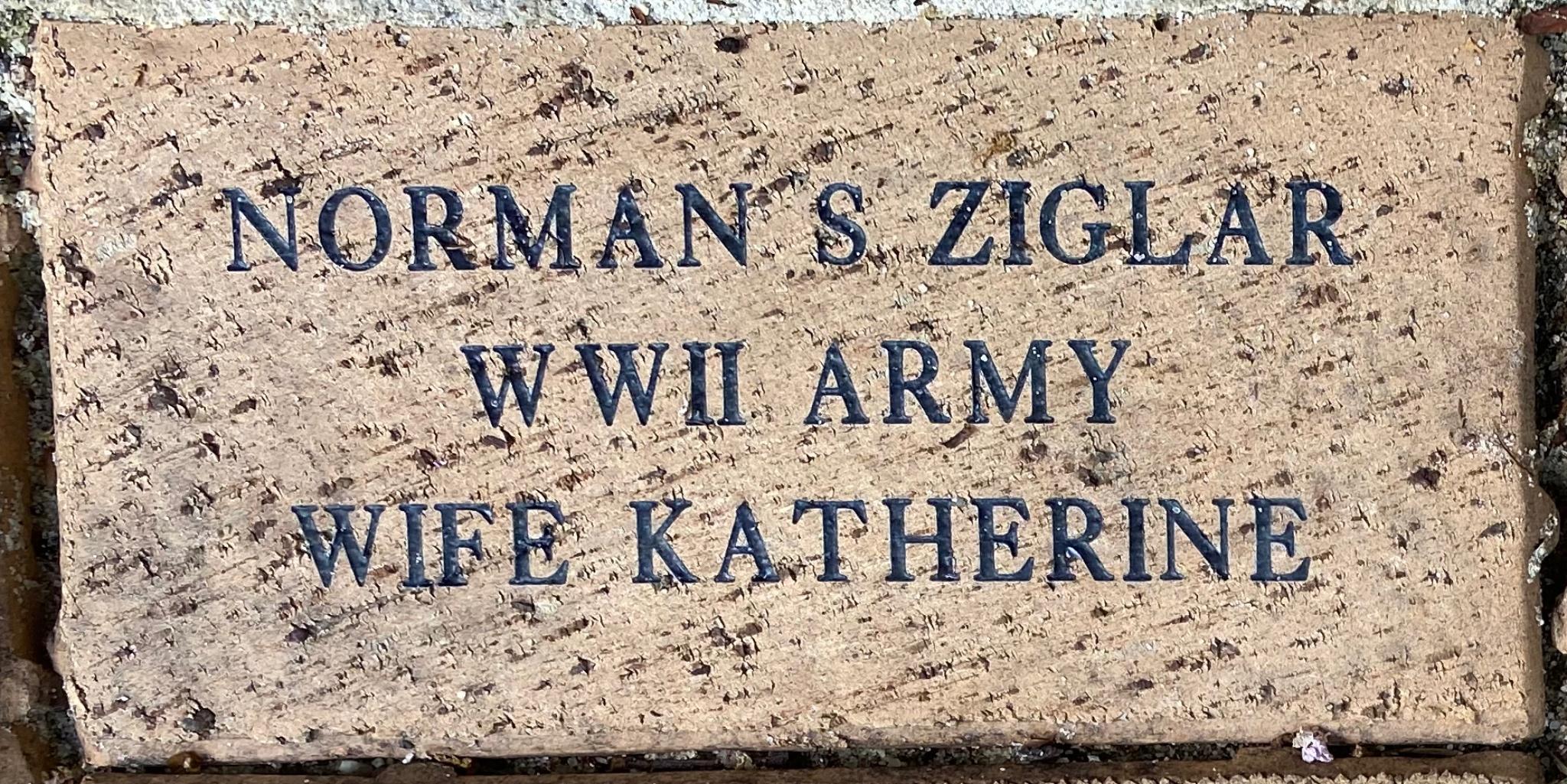 NORMAN S ZIGLAR WWII ARMY WIFE KATHERINE